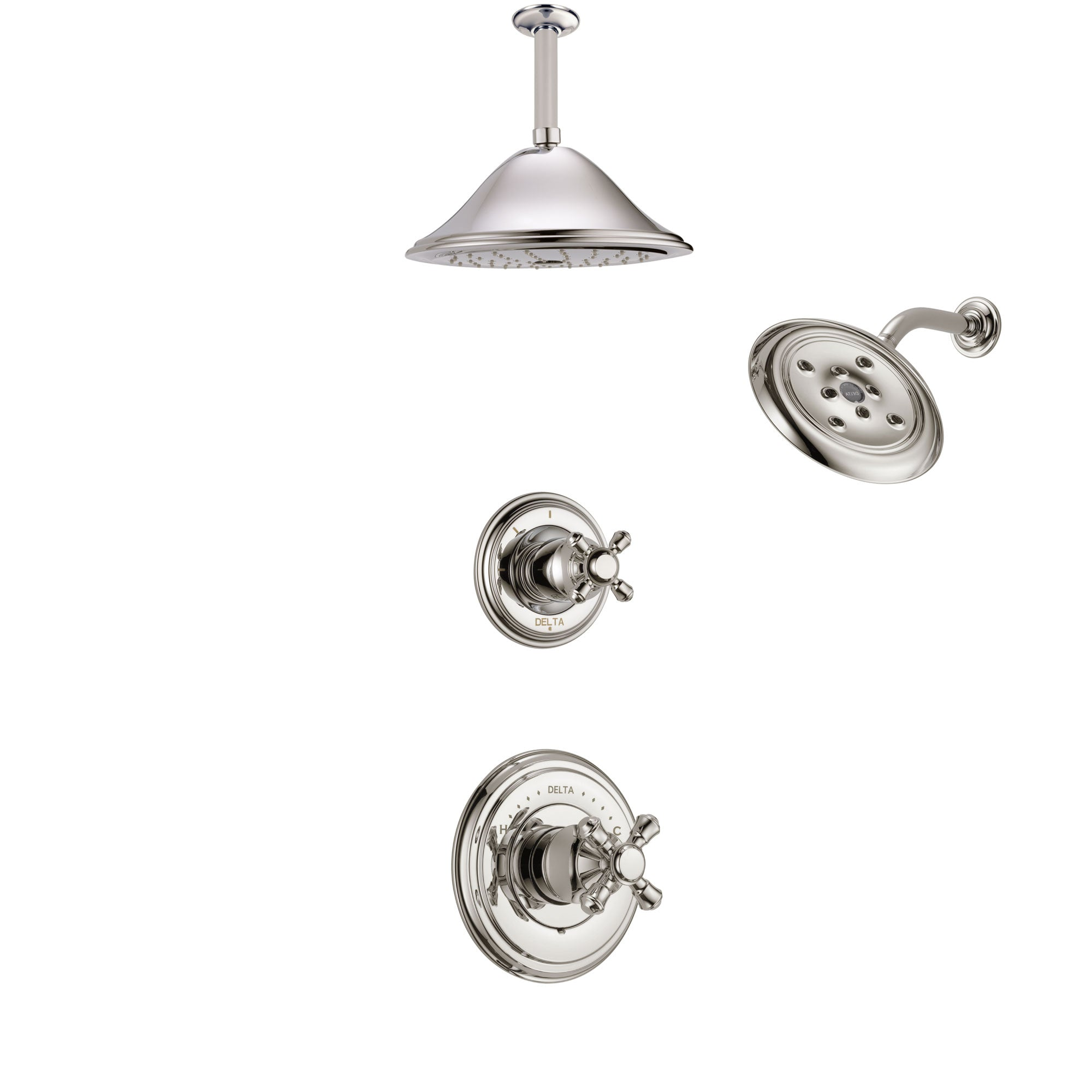 Delta Cassidy Polished Nickel Finish Shower System with Control Handle, 3-Setting Diverter, Showerhead, and Ceiling Mount Showerhead SS14971PN7