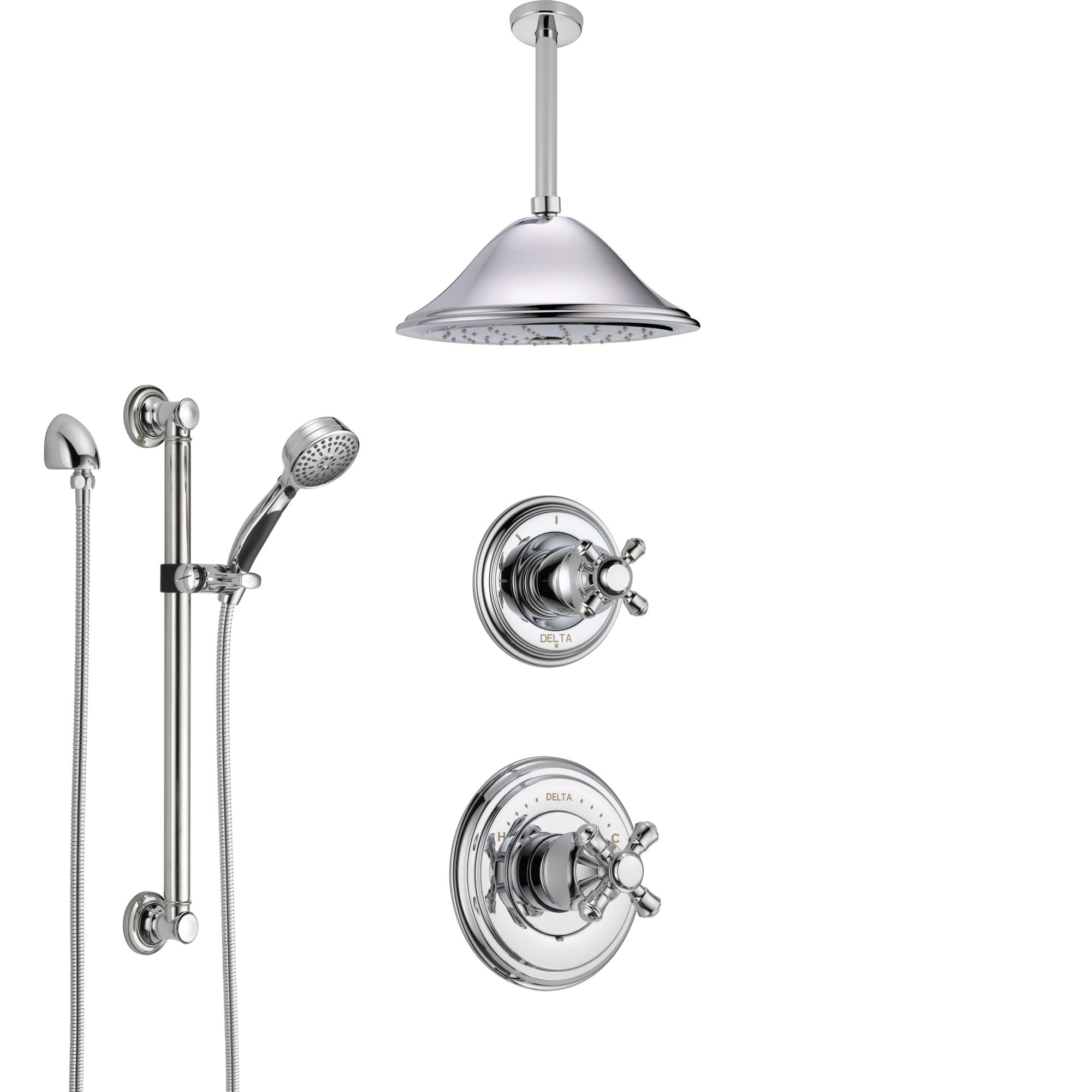 Delta Cassidy Chrome Finish Shower System With Control Handle 3 Setting Diverter Ceiling Mount Showerhead And Hand Shower With Grab Bar Ss149725
