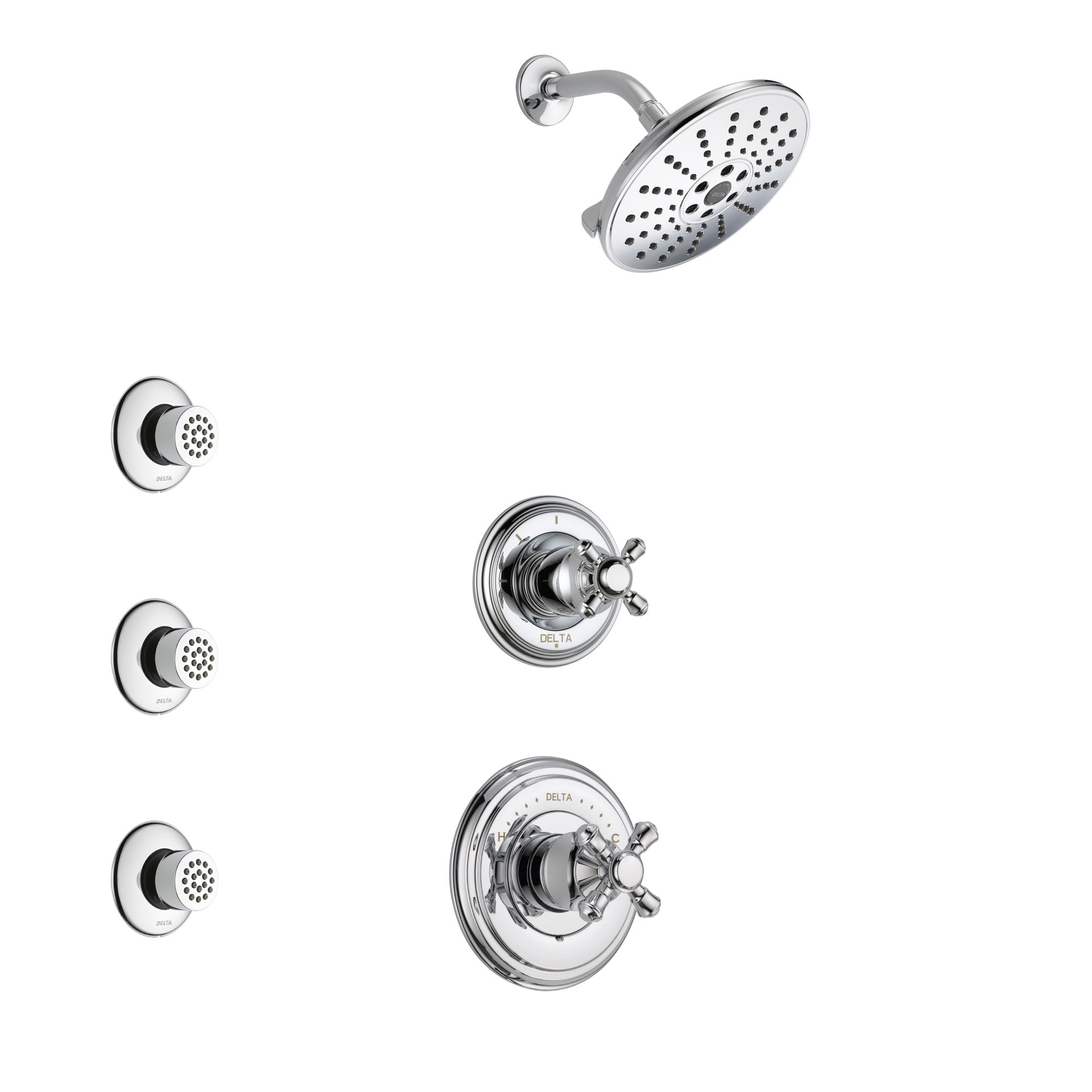 Delta Cassidy Chrome Finish Shower System with Control Handle, 3-Setting Diverter, Showerhead, and 3 Body Sprays SS149728