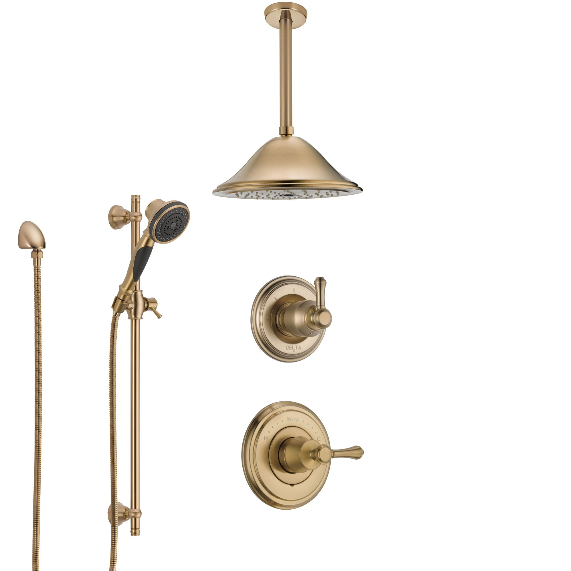 Delta Cassidy Champagne Bronze Shower System with Control Handle, Diverter, Ceiling Mount Showerhead, and Hand Shower with Slidebar SS14972CZ1