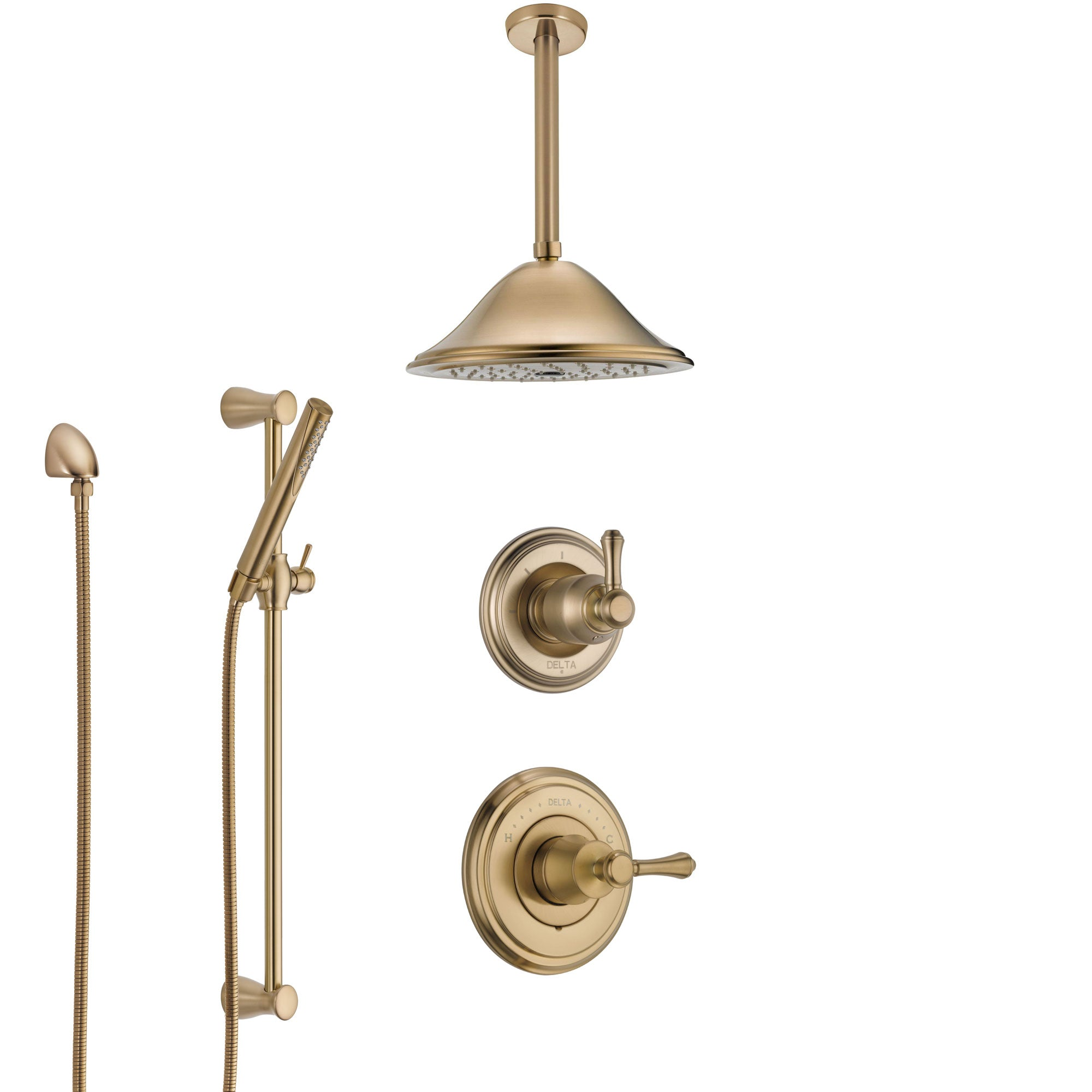 Delta Cassidy Champagne Bronze Shower System with Control Handle, Diverter, Ceiling Mount Showerhead, and Hand Shower with Slidebar SS14972CZ2