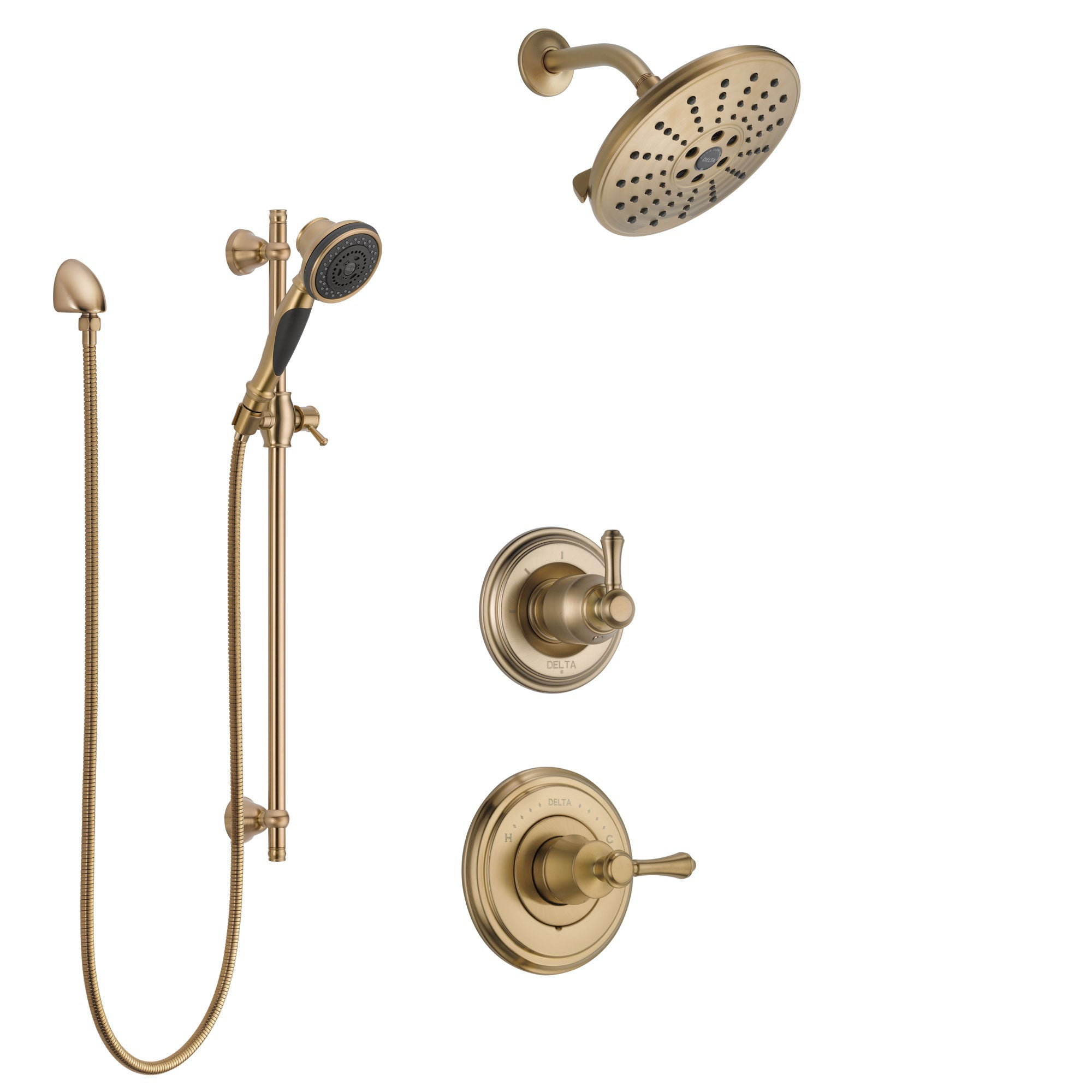 Delta Cassidy Champagne Bronze Finish Shower System with Control Handle, 3-Setting Diverter, Showerhead, and Hand Shower with Slidebar SS14972CZ5