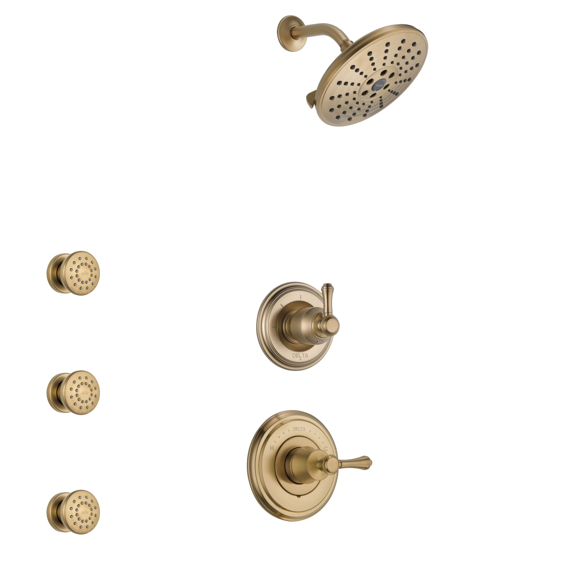 Delta Cassidy Champagne Bronze Finish Shower System with Control Handle, 3-Setting Diverter, Showerhead, and 3 Body Sprays SS14972CZ6
