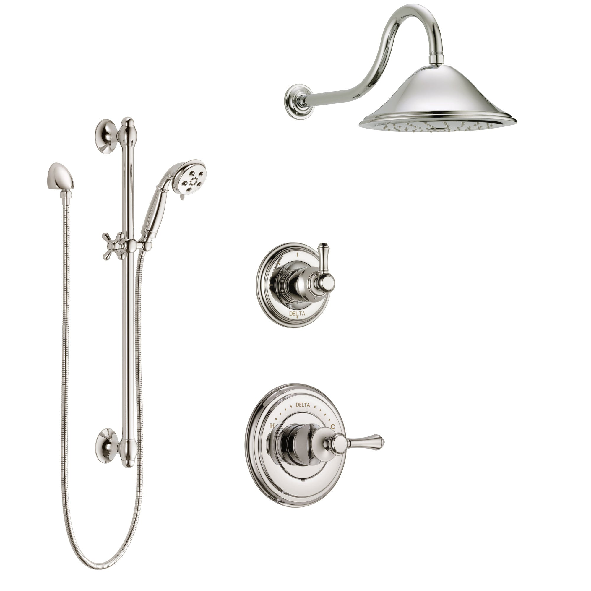 Delta Cassidy Polished Nickel Finish Shower System with Control Handle, 3-Setting Diverter, Showerhead, and Hand Shower with Slidebar SS14972PN2