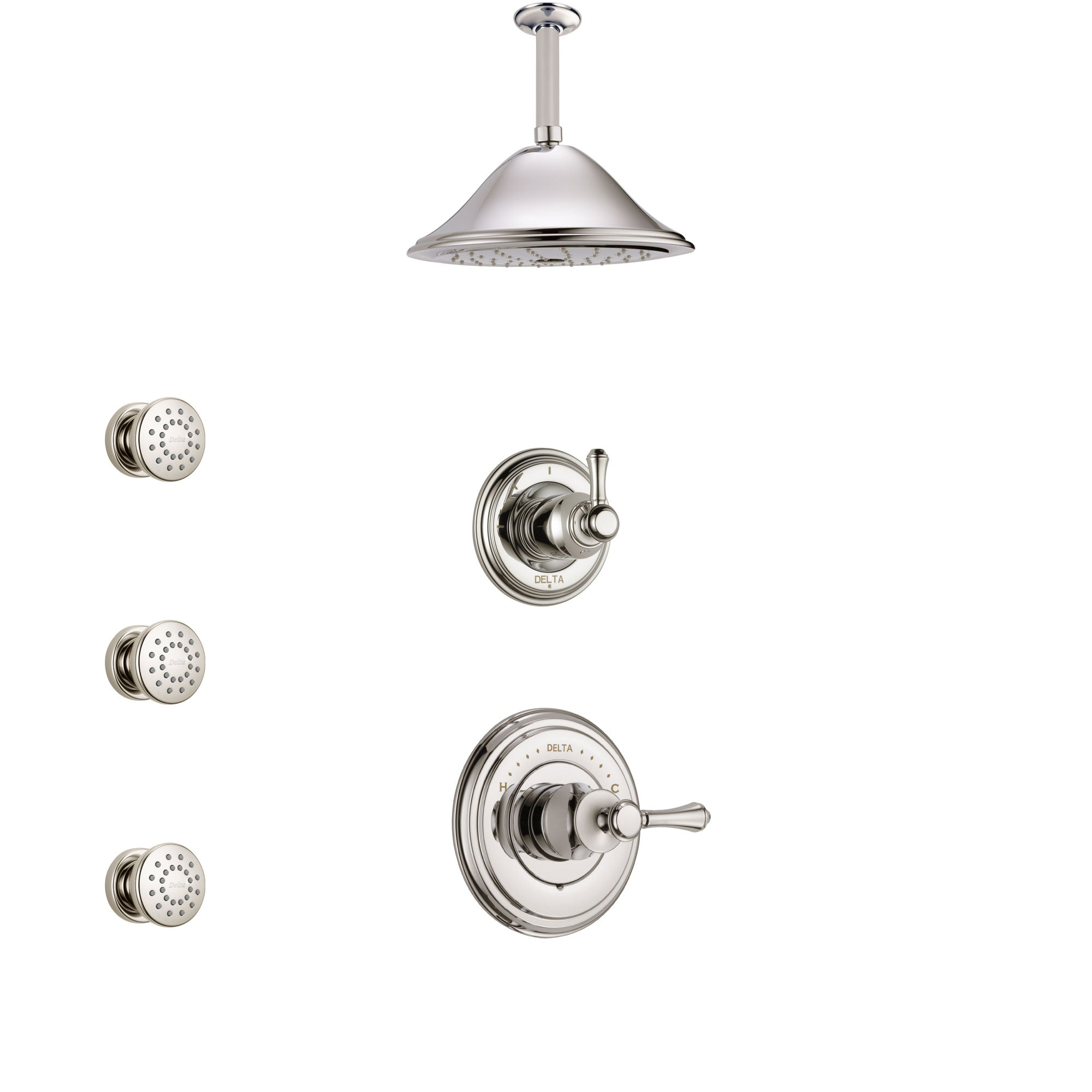 Delta Cassidy Polished Nickel Finish Shower System with Control Handle, 3-Setting Diverter, Ceiling Mount Showerhead, and 3 Body Sprays SS14972PN4