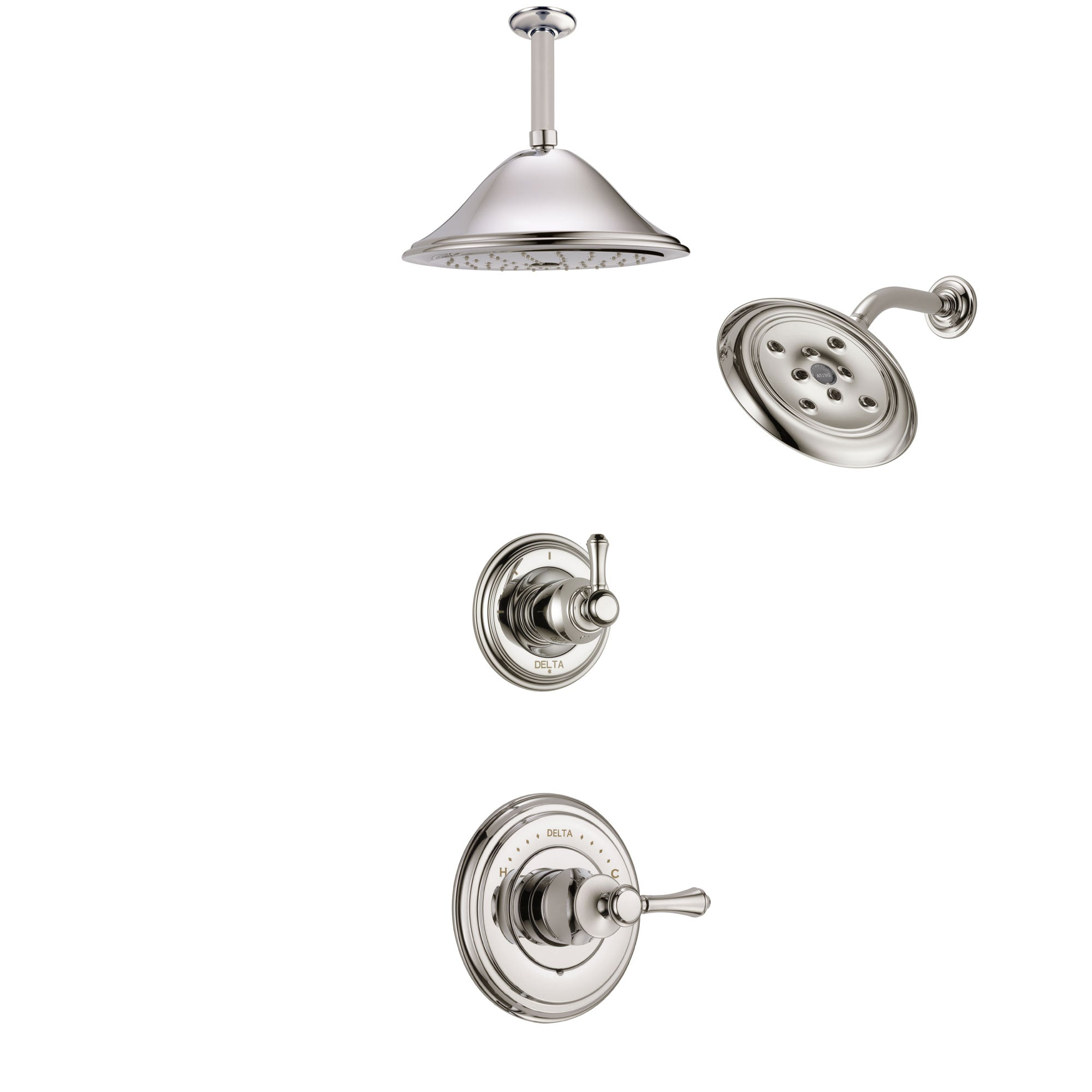 Delta Cassidy Polished Nickel Finish Shower System with Control Handle, 3-Setting Diverter, Showerhead, and Ceiling Mount Showerhead SS14972PN7