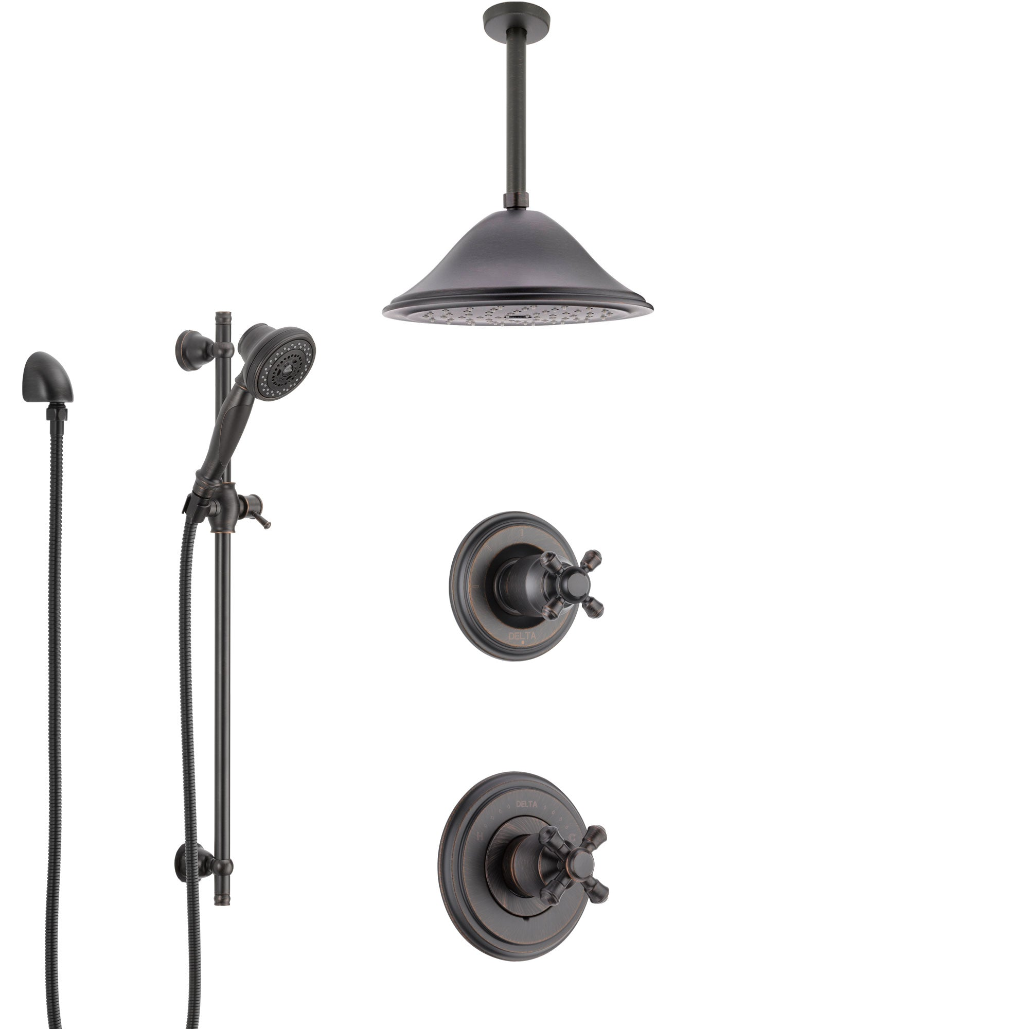 Delta Cassidy Venetian Bronze Shower System with Control Handle, Diverter, Ceiling Mount Showerhead, and Hand Shower with Slidebar SS14972RB7