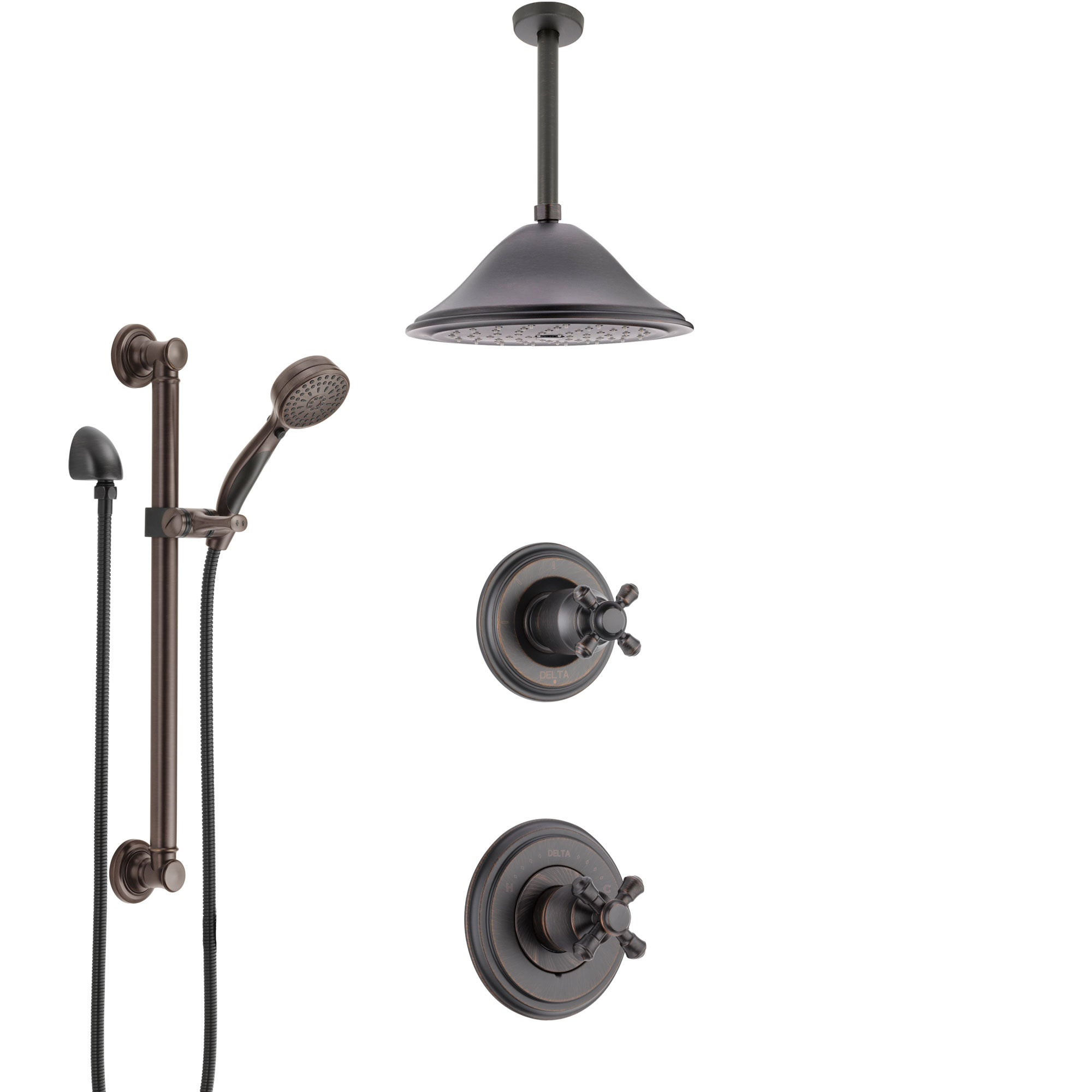 Delta Cassidy Venetian Bronze Shower System with Control Handle, Diverter, Ceiling Mount Showerhead, and Hand Shower with Grab Bar SS14972RB8