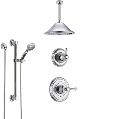 Delta Cassidy Chrome Finish Shower System with Control Handle, 3-Setting Diverter, Ceiling Mount Showerhead, and Hand Shower with Grab Bar SS149735