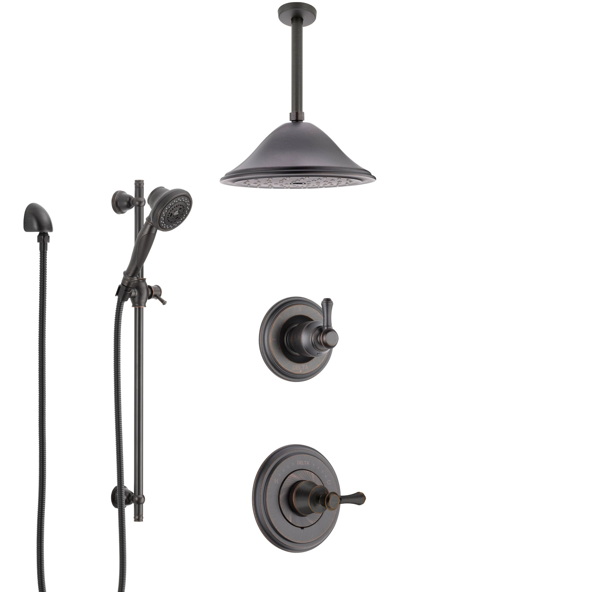 Delta Cassidy Venetian Bronze Shower System with Control Handle, Diverter, Ceiling Mount Showerhead, and Hand Shower with Slidebar SS14973RB7