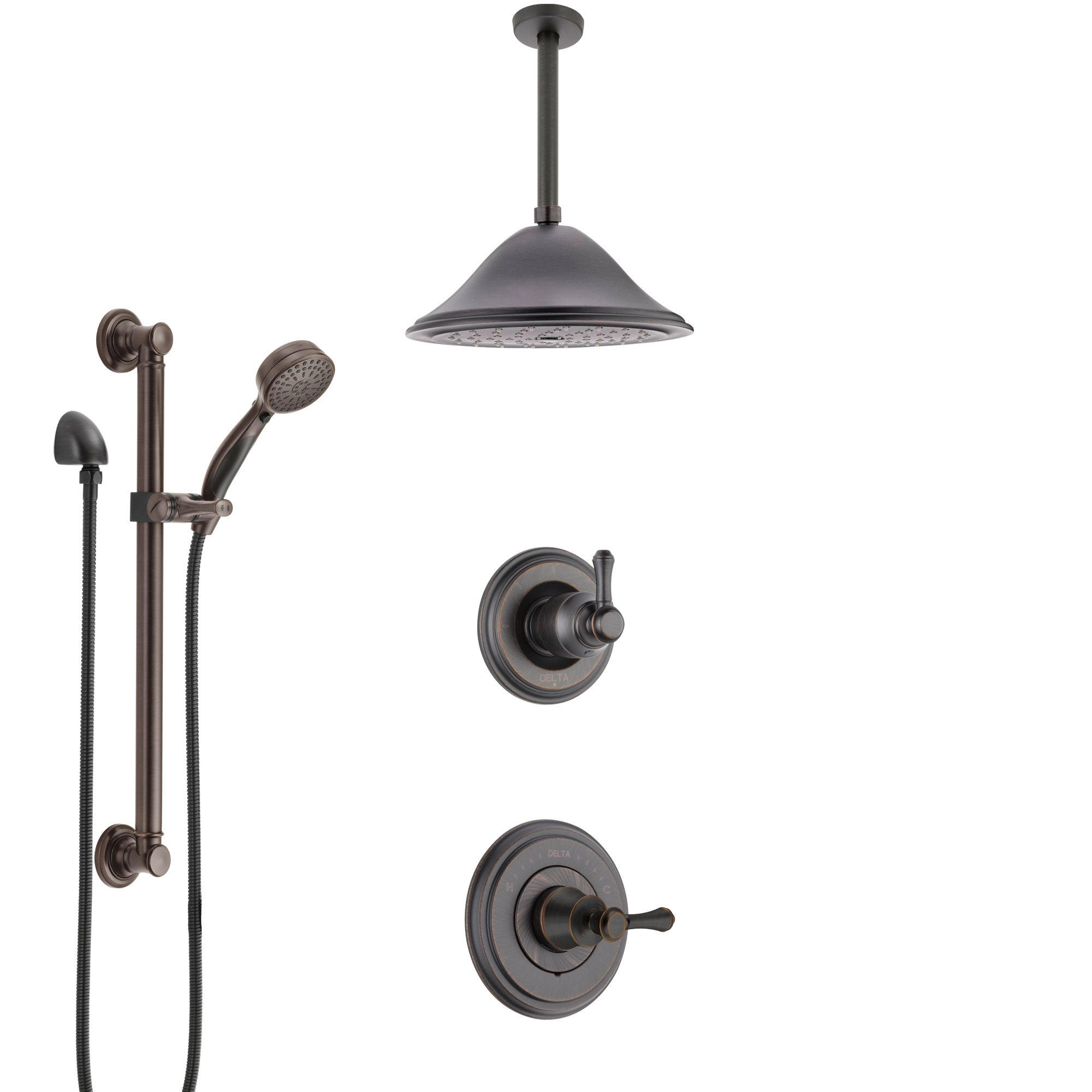 Delta Cassidy Venetian Bronze Shower System with Control Handle, Diverter, Ceiling Mount Showerhead, and Hand Shower with Grab Bar SS14973RB8