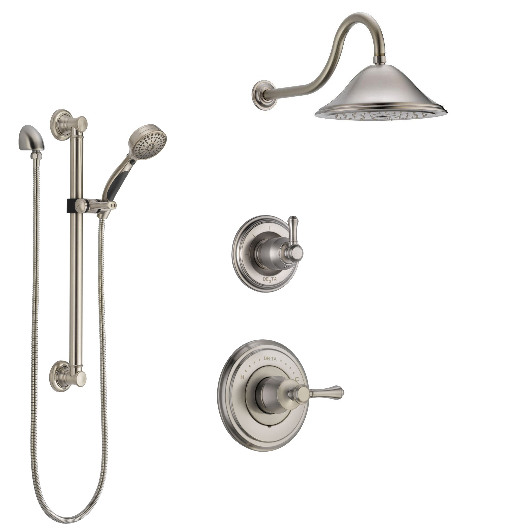 Delta Cassidy Stainless Steel Finish Shower System with Control Handle, 3-Setting Diverter, Showerhead, and Hand Shower with Grab Bar SS14973SS1