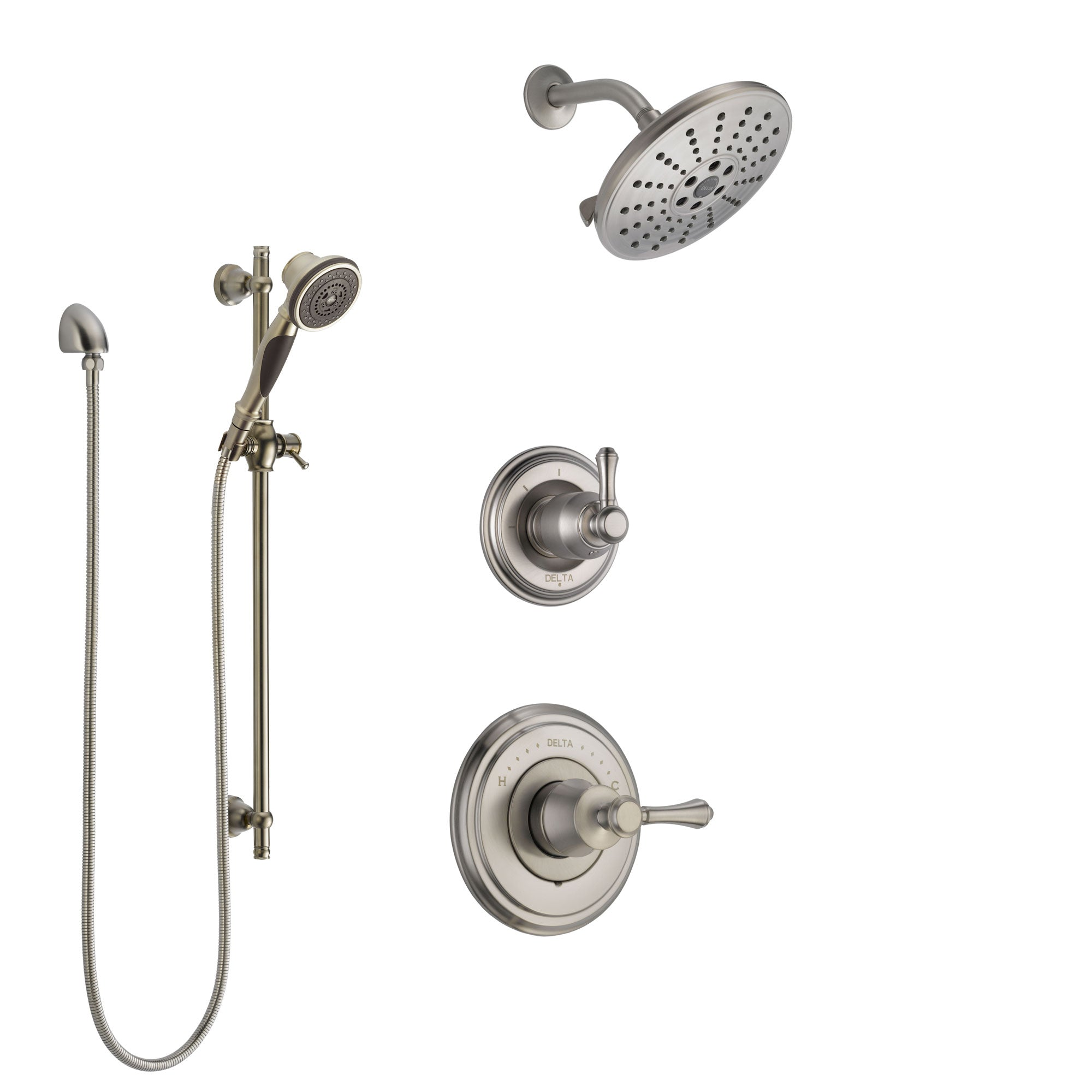 Delta Cassidy Stainless Steel Finish Shower System with Control Handle, 3-Setting Diverter, Showerhead, and Hand Shower with Slidebar SS14973SS3