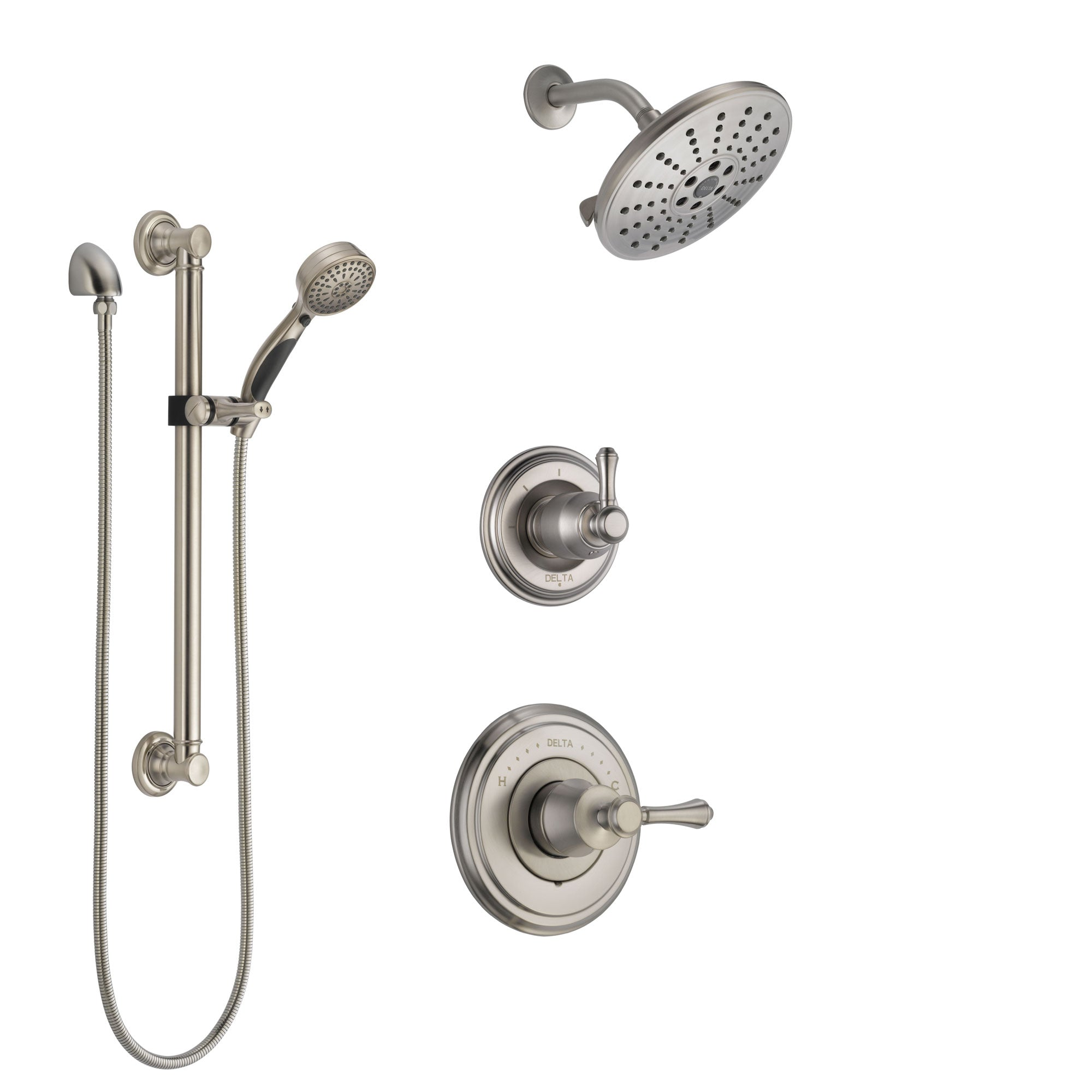 Delta Cassidy Stainless Steel Finish Shower System with Control Handle, 3-Setting Diverter, Showerhead, and Hand Shower with Grab Bar SS14973SS4