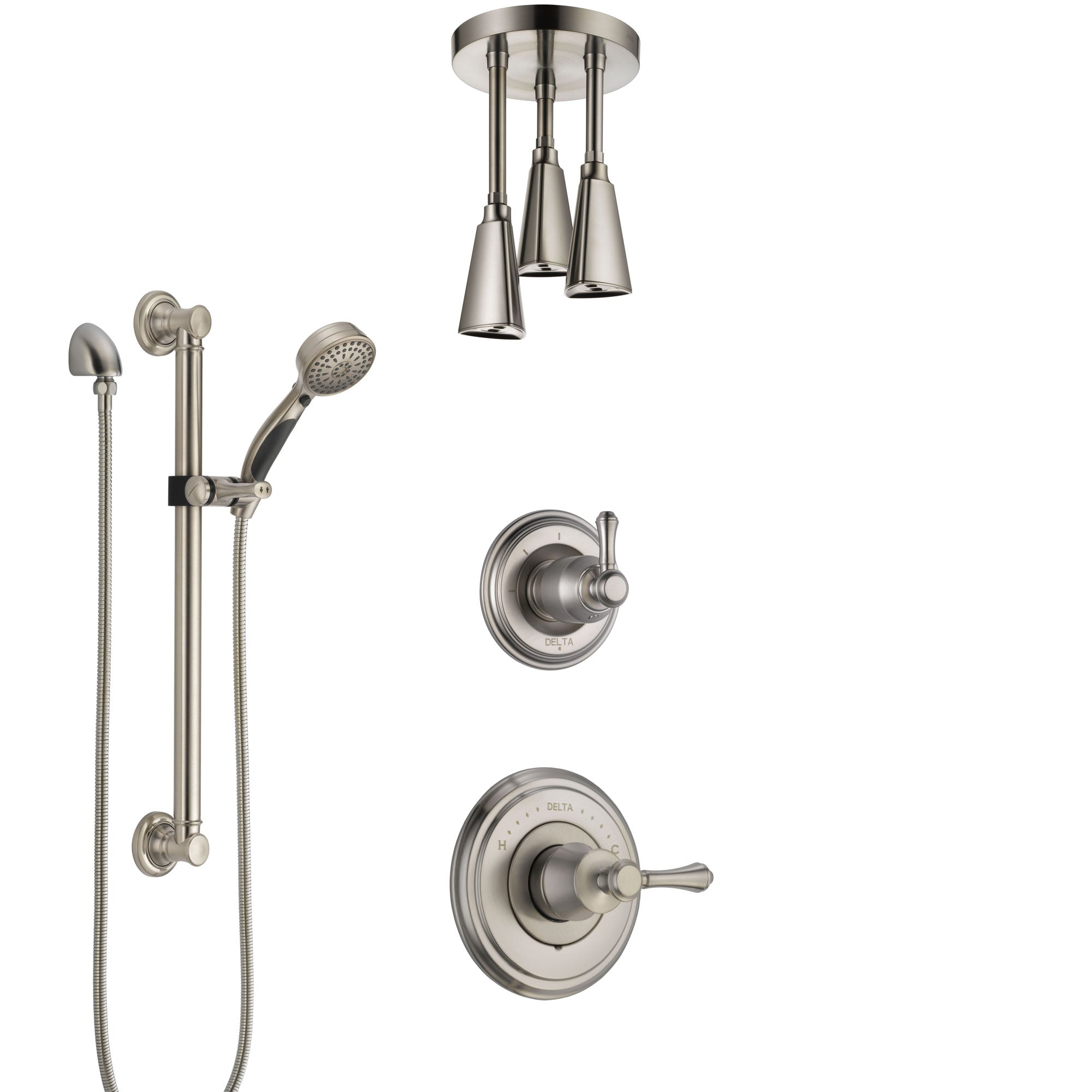 Delta Cassidy Stainless Steel Finish Shower System with Control Handle, Diverter, Ceiling Mount Showerhead, and Hand Shower with Grab Bar SS14973SS5