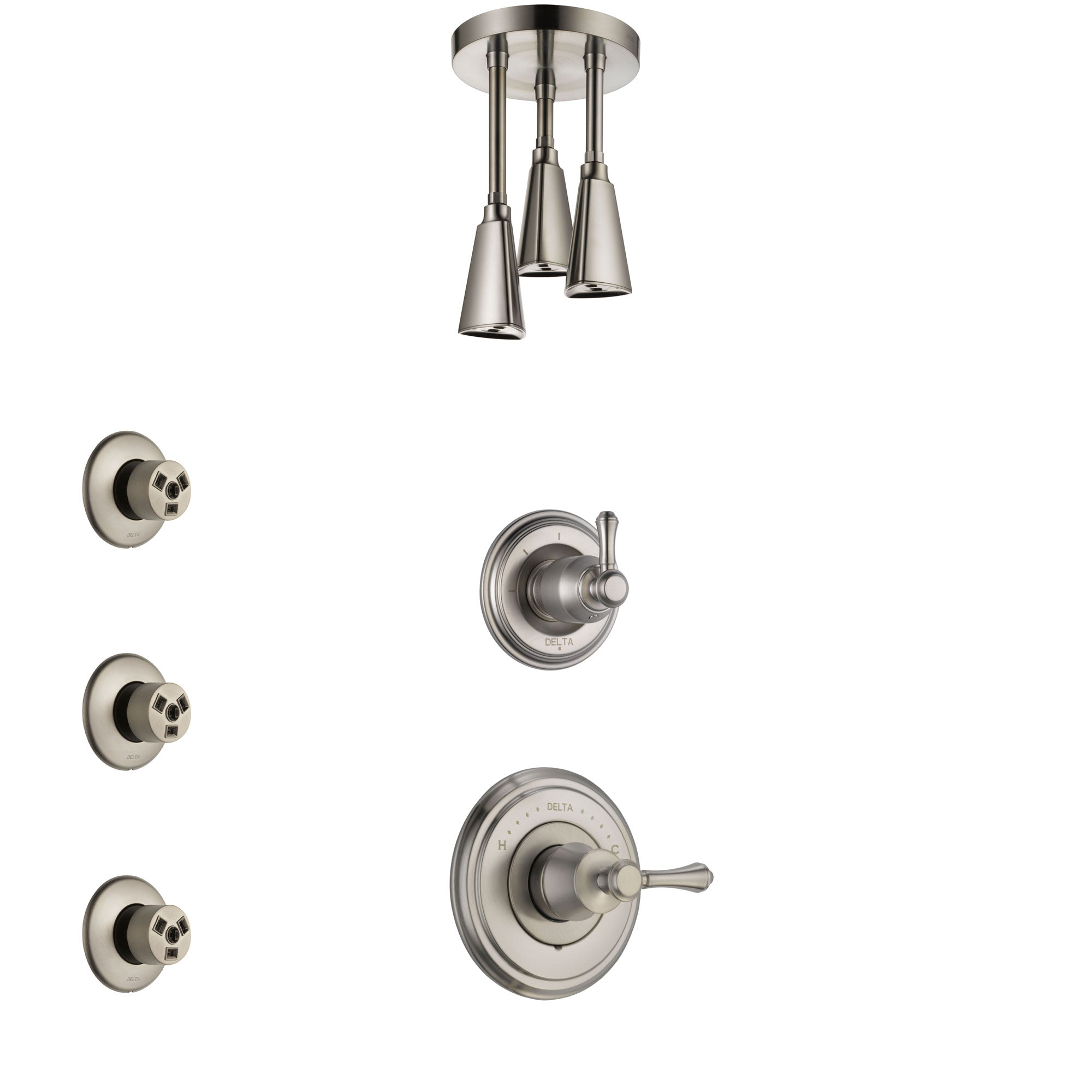 Delta Cassidy Stainless Steel Finish Shower System with Control Handle, 3-Setting Diverter, Ceiling Mount Showerhead, and 3 Body Sprays SS14973SS6