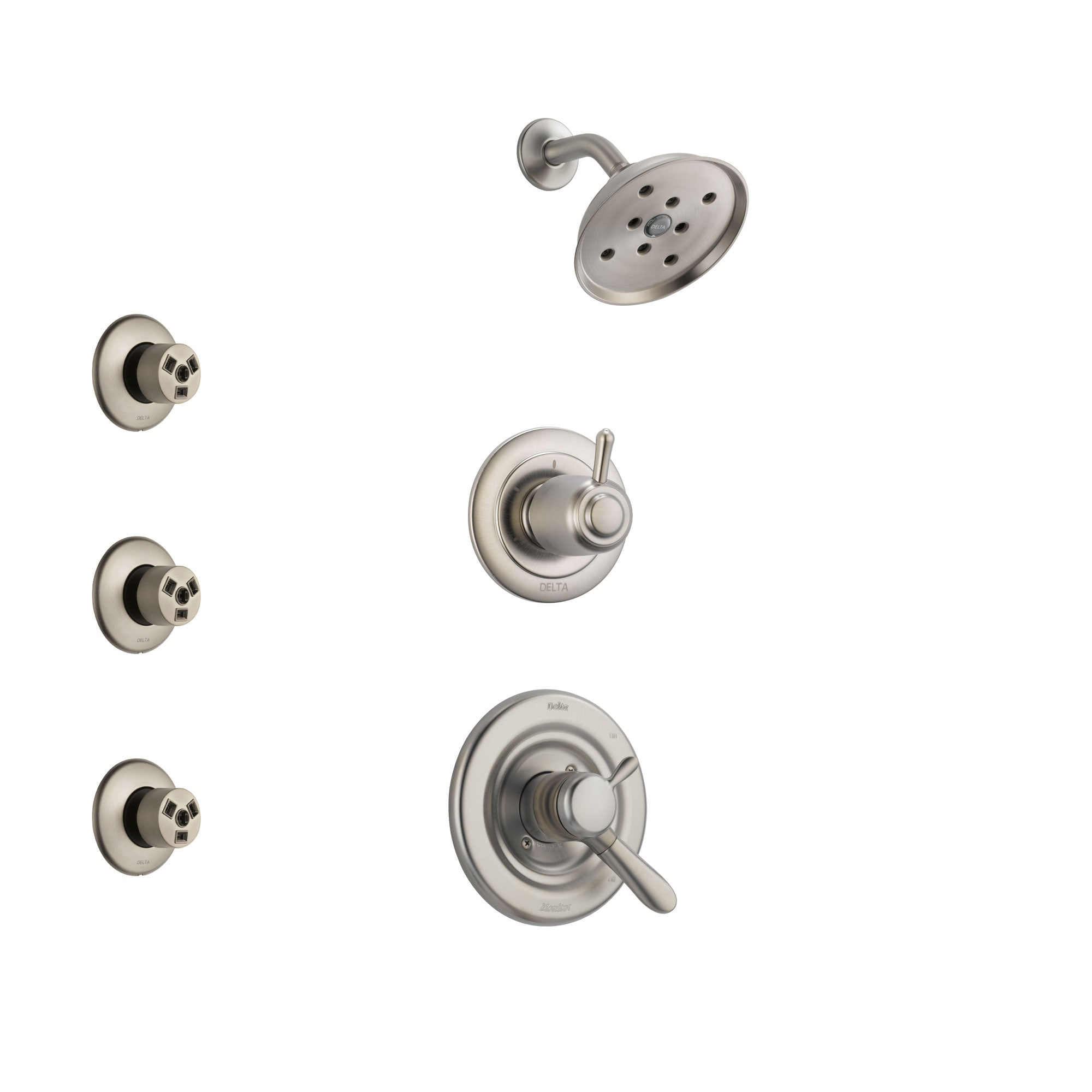 Delta Lahara Stainless Steel Finish Shower System with Dual Control Handle, 3-Setting Diverter, Showerhead, and 3 Body Sprays SS17238SS1