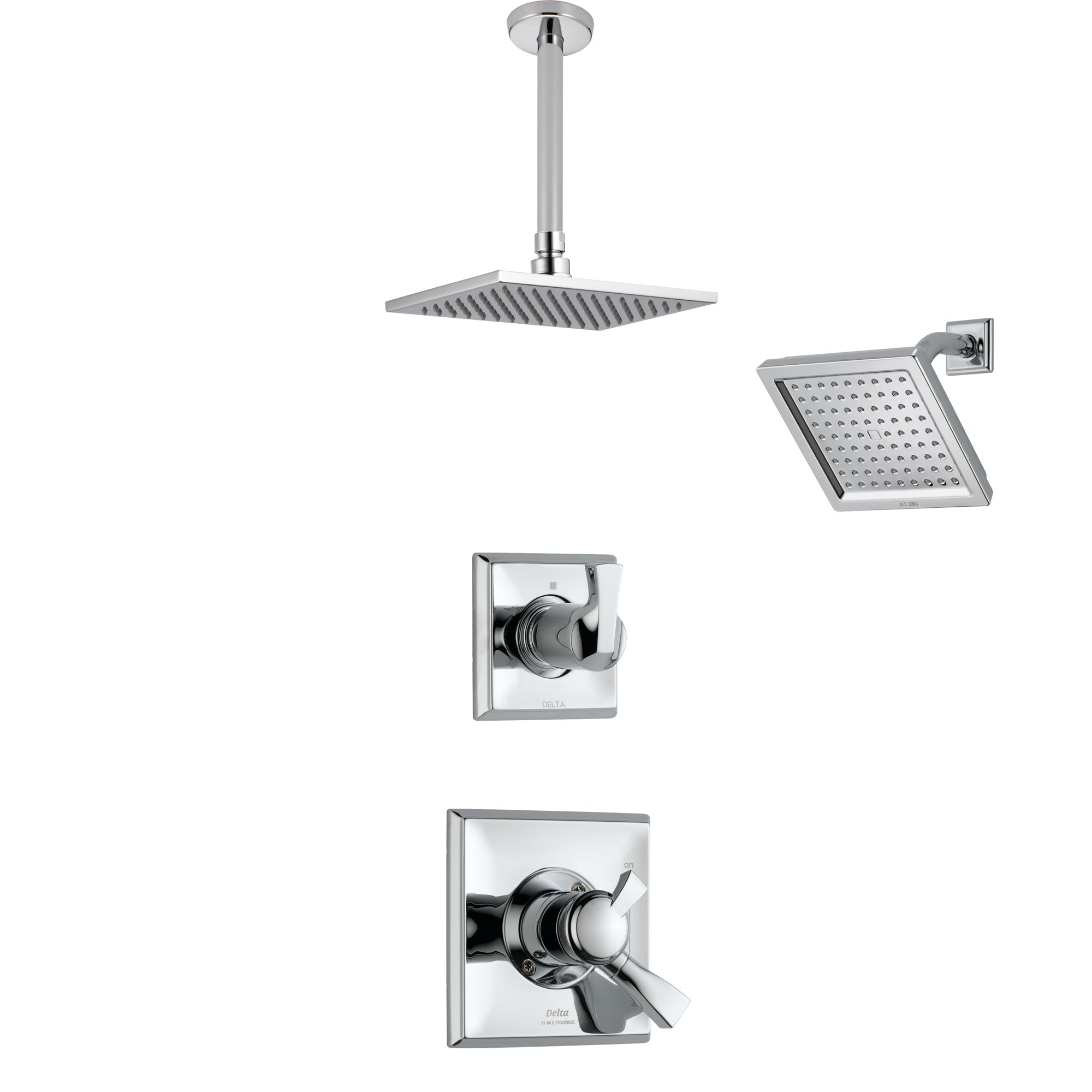 Delta Dryden Chrome Finish Shower System with Dual Control Handle, 3-Setting Diverter, Showerhead, and Ceiling Mount Showerhead SS1725113