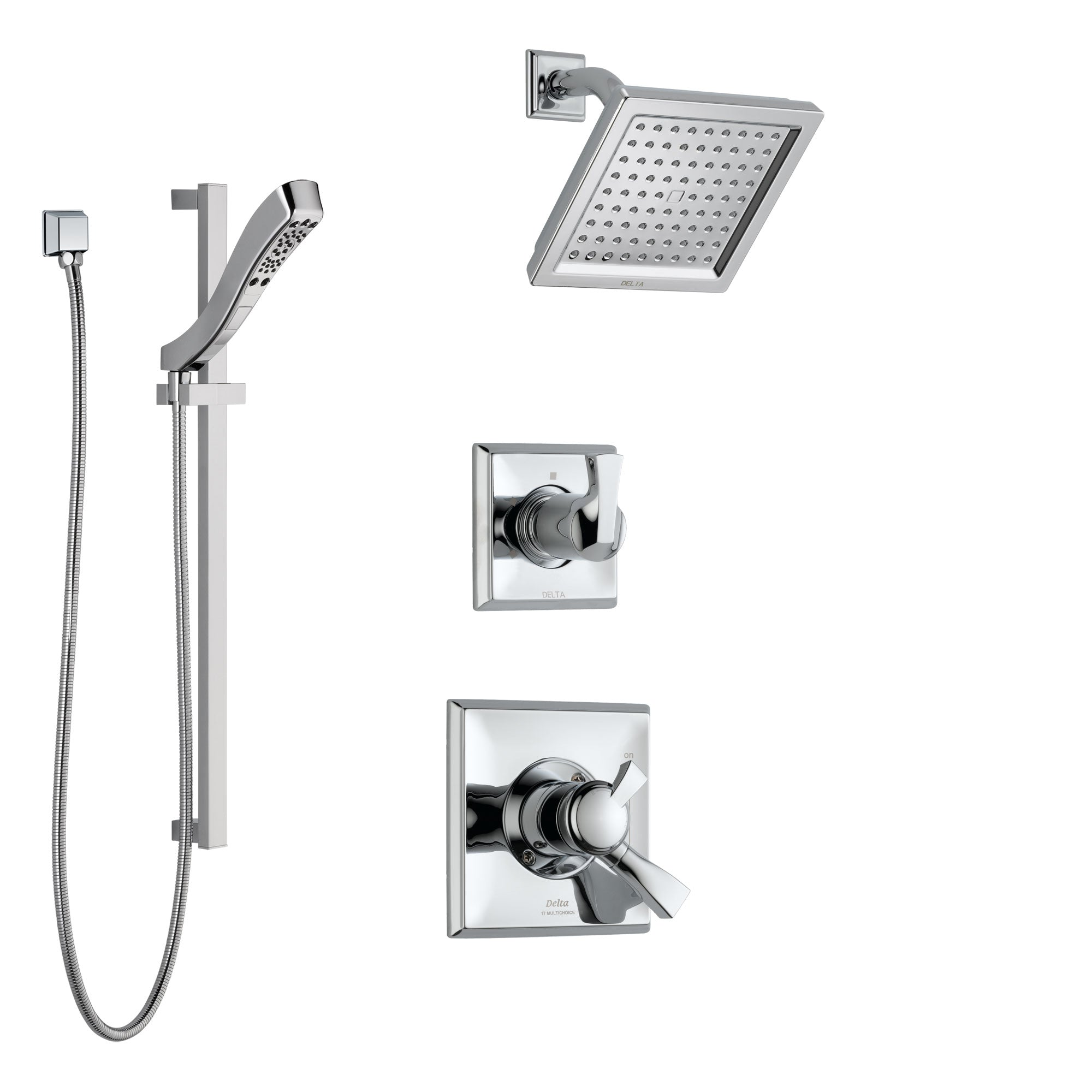 Delta Dryden Chrome Finish Shower System with Dual Control Handle, 3-Setting Diverter, Showerhead, and Hand Shower with Slidebar SS1725116