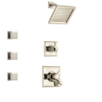 Delta Dryden Polished Nickel Finish Shower System with Dual Control Handle, 3-Setting Diverter, Showerhead, and 3 Body Sprays SS172511PN1
