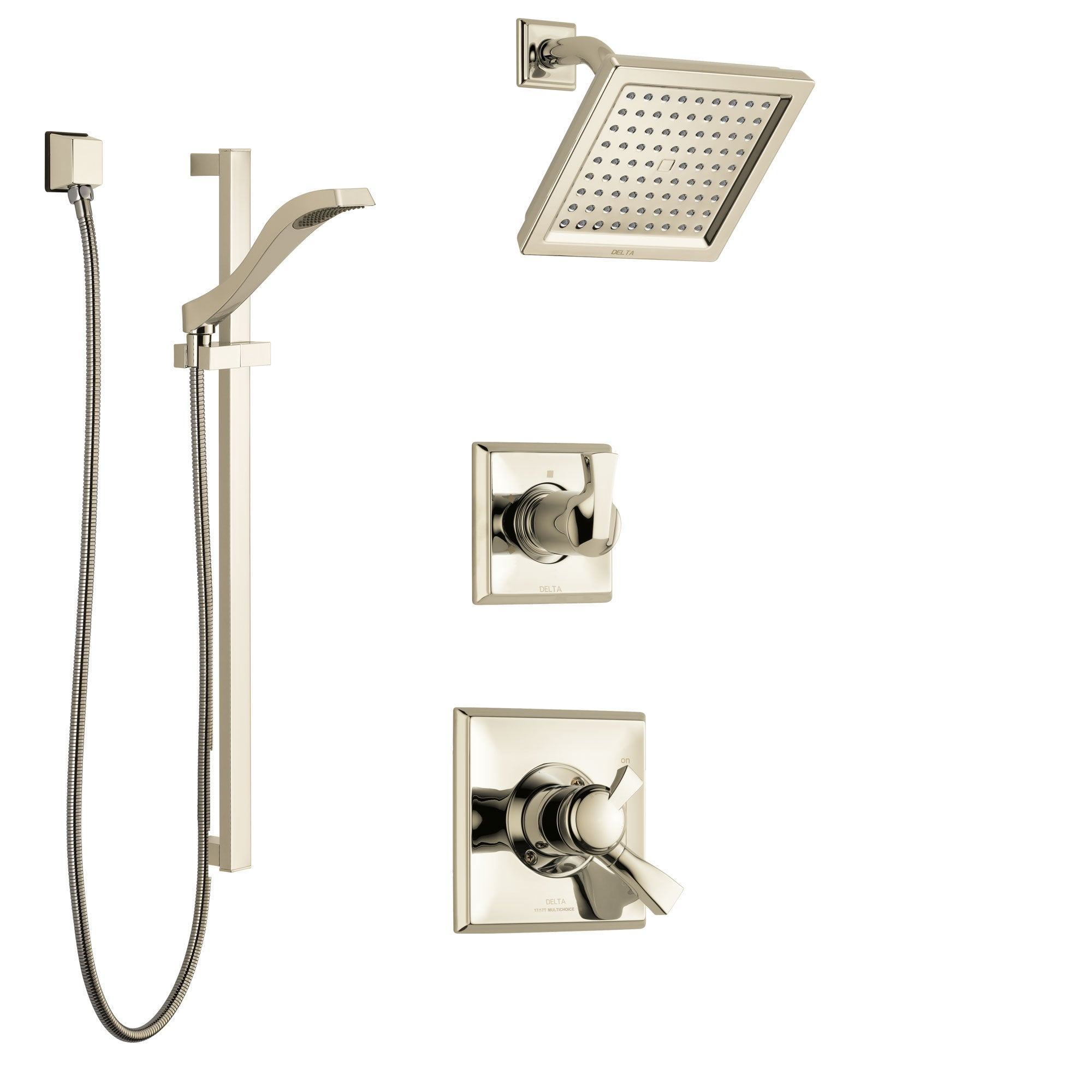 Delta Dryden Polished Nickel Finish Shower System with Dual Control Handle, 3-Setting Diverter, Showerhead, and Hand Shower with Slidebar SS172511PN2