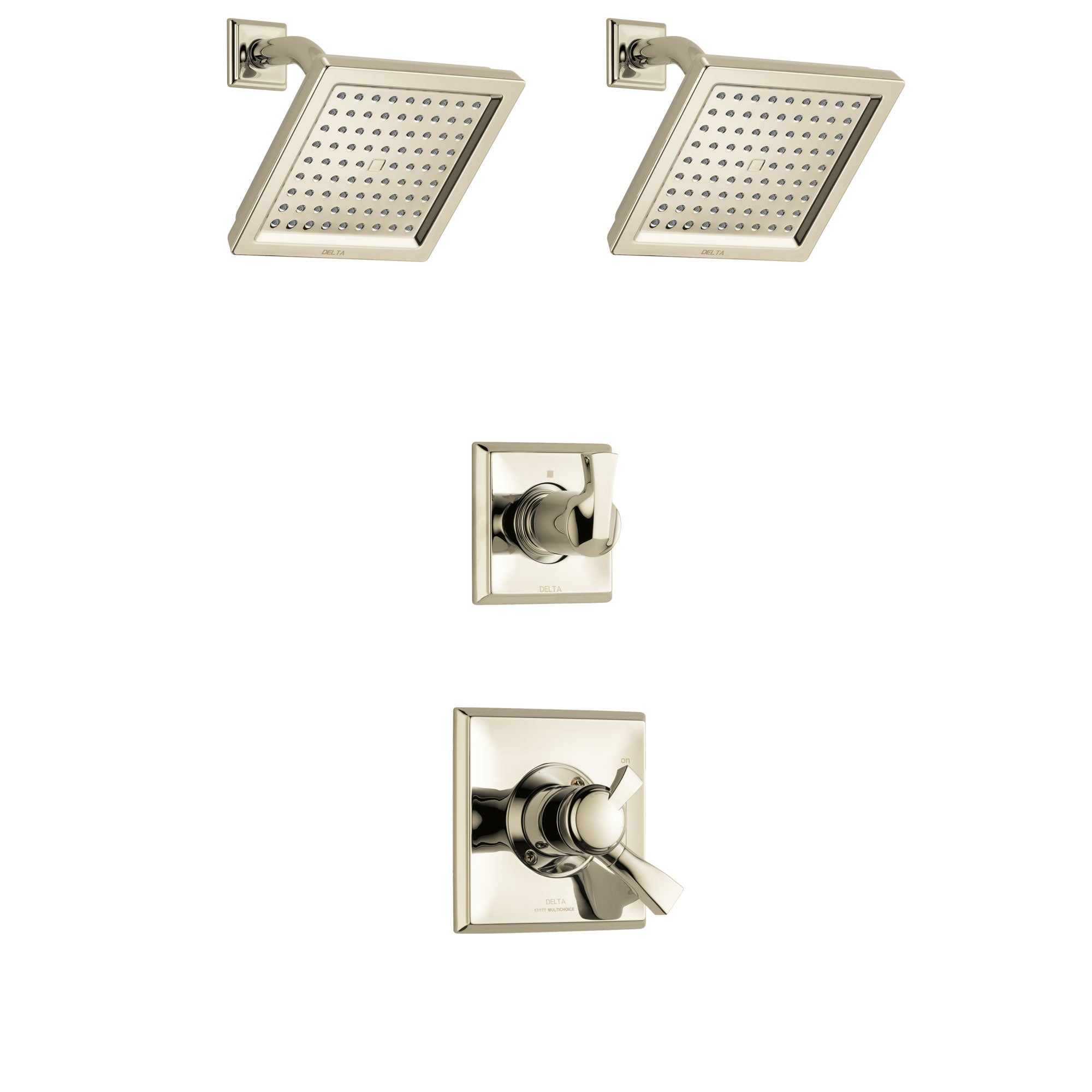 Delta Dryden Polished Nickel Finish Shower System with Dual Control Handle, 3-Setting Diverter, 2 Showerheads SS172511PN4