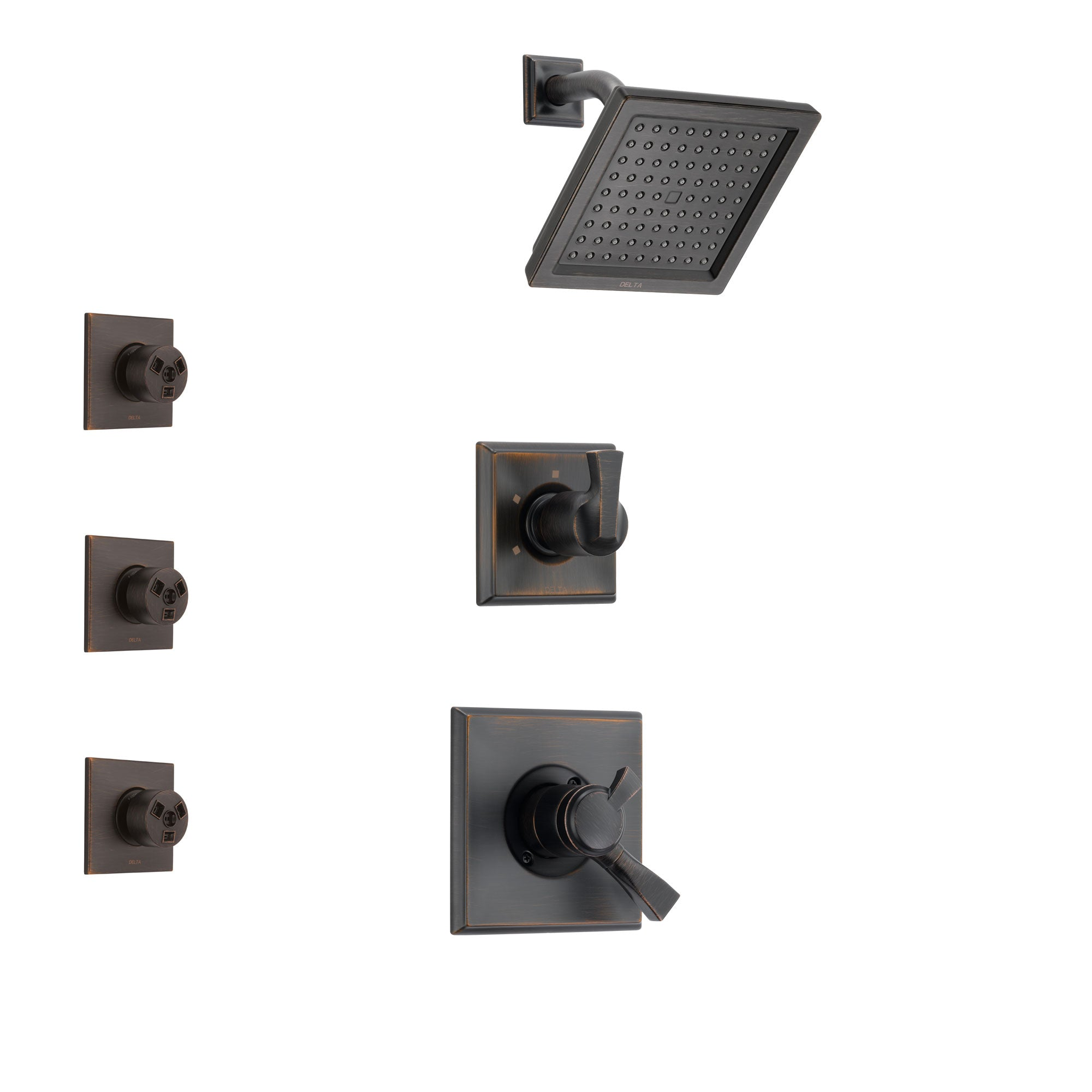 Delta Dryden Venetian Bronze Finish Shower System with Dual Control Handle, 3-Setting Diverter, Showerhead, and 3 Body Sprays SS172511RB1