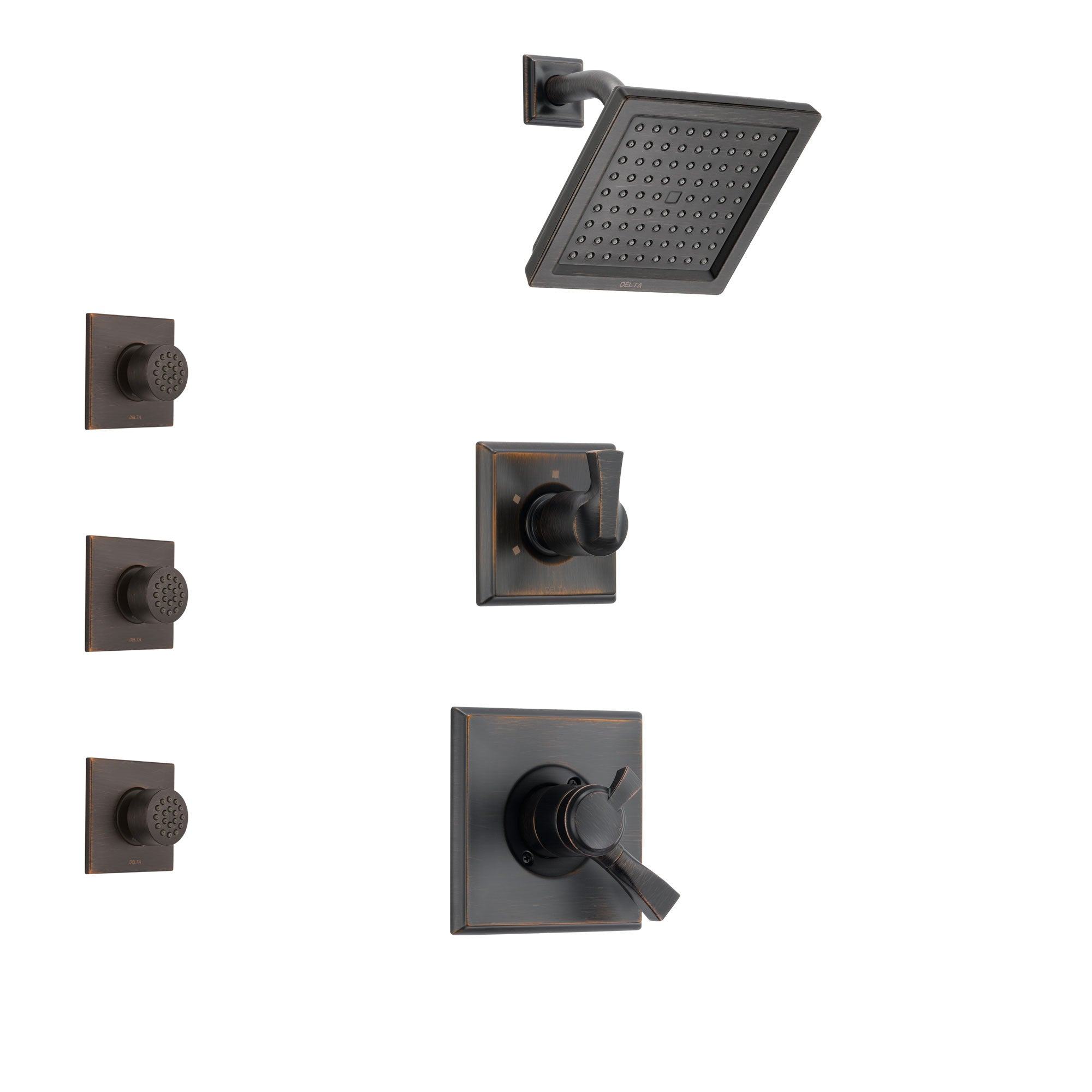 Delta Dryden Venetian Bronze Finish Shower System with Dual Control Handle, 3-Setting Diverter, Showerhead, and 3 Body Sprays SS172511RB2