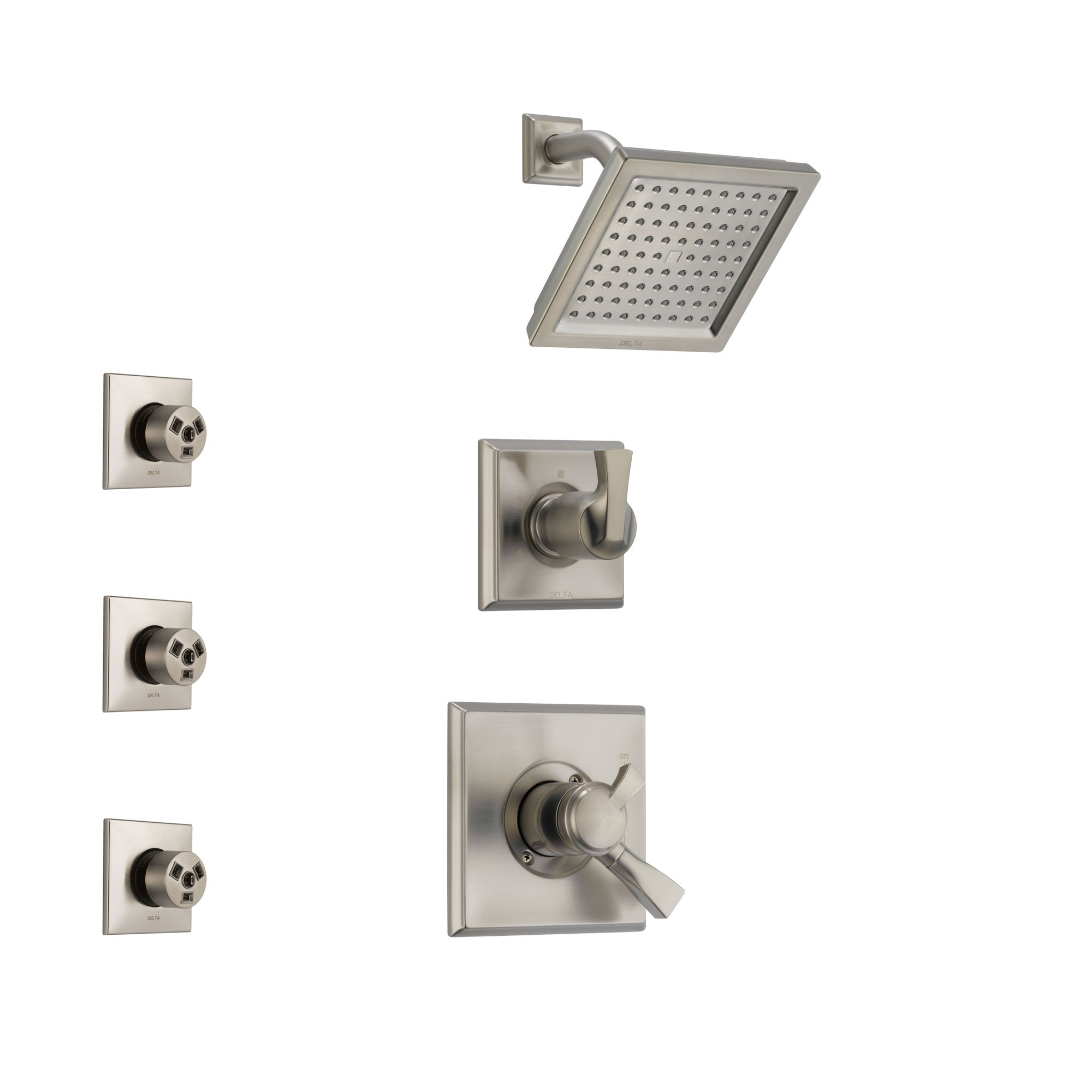 Delta Dryden Stainless Steel Finish Shower System with Dual Control Handle, 3-Setting Diverter, Showerhead, and 3 Body Sprays SS172511SS1