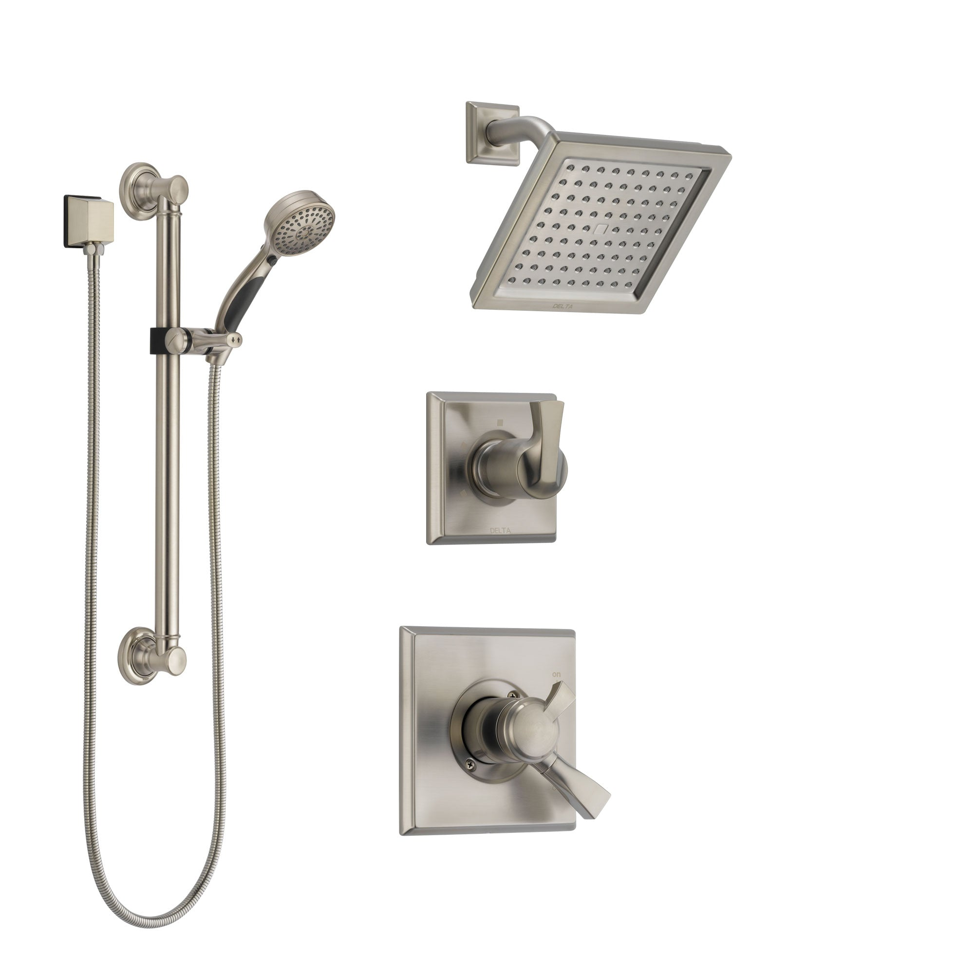 Delta Dryden Stainless Steel Finish Shower System with Dual Control Handle, 3-Setting Diverter, Showerhead, and Hand Shower with Grab Bar SS172511SS3