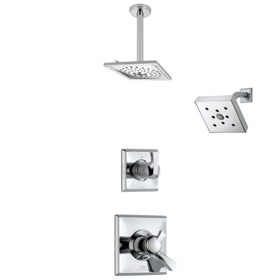 Delta Dryden Chrome Finish Shower System with Dual Control Handle, 3-Setting Diverter, Showerhead, and Ceiling Mount Showerhead SS1725123