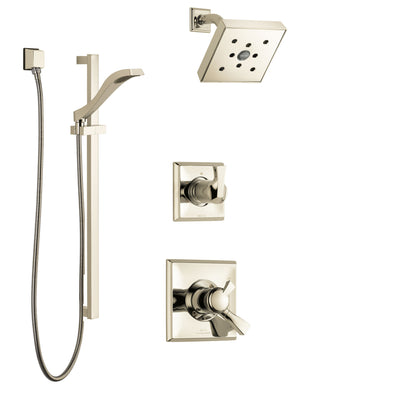 Delta Dryden Polished Nickel Finish Shower System with Dual Control Handle, 3-Setting Diverter, Showerhead, and Hand Shower with Slidebar SS172512PN2
