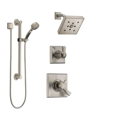 Delta Dryden Stainless Steel Finish Shower System with Dual Control Handle, 3-Setting Diverter, Showerhead, and Hand Shower with Grab Bar SS172512SS3