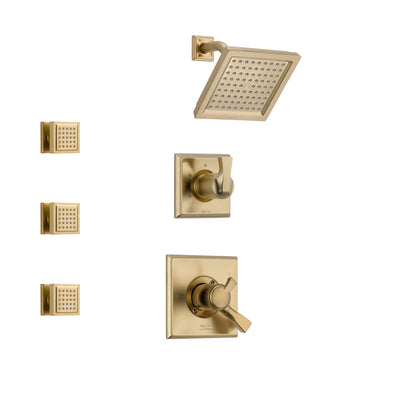 Delta Dryden Champagne Bronze Finish Shower System with Dual Control Handle, 3-Setting Diverter, Showerhead, and 3 Body Sprays SS17251CZ1