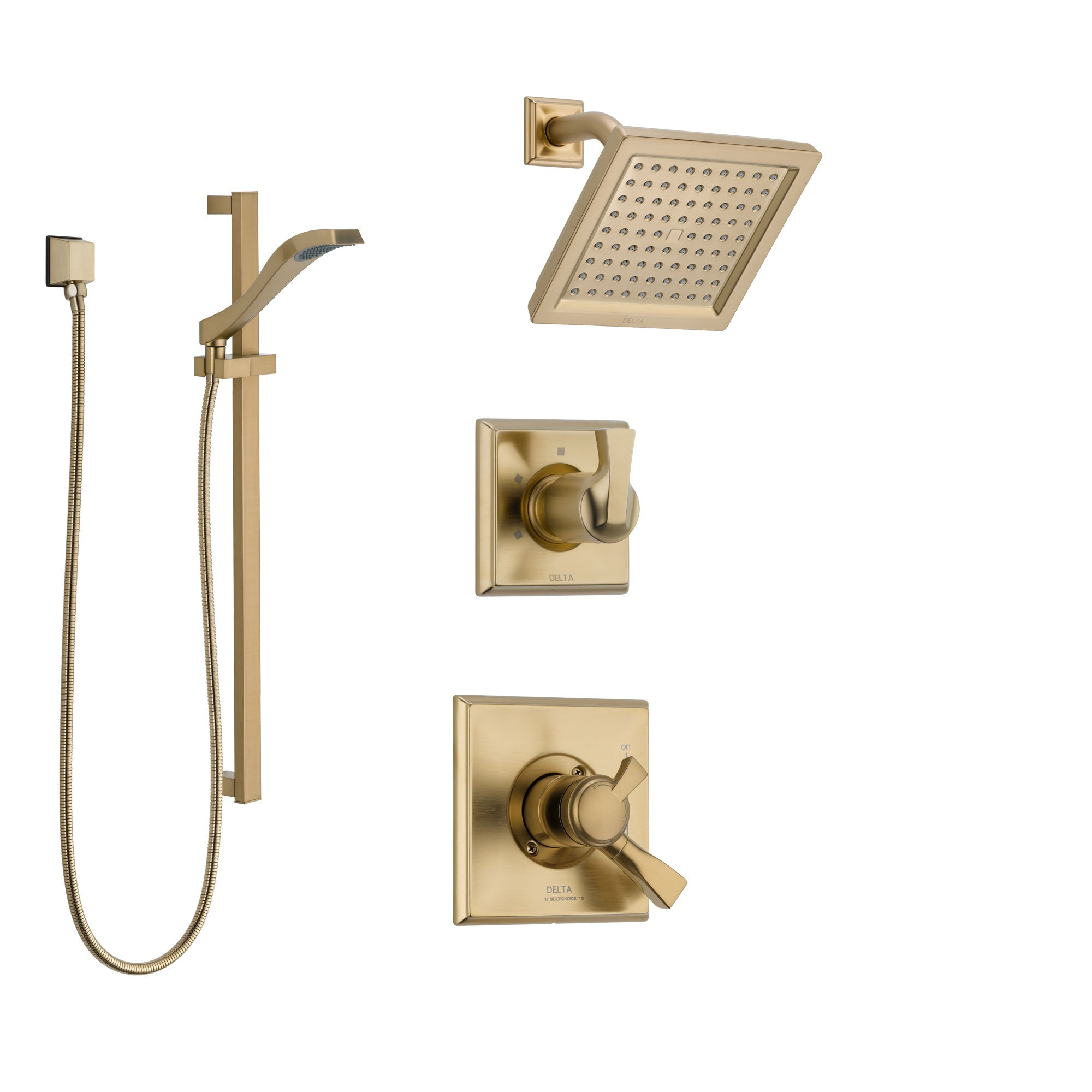 Delta Dryden Champagne Bronze Finish Shower System with Dual Control Handle, 3-Setting Diverter, Showerhead, and Hand Shower with Slidebar SS17251CZ2