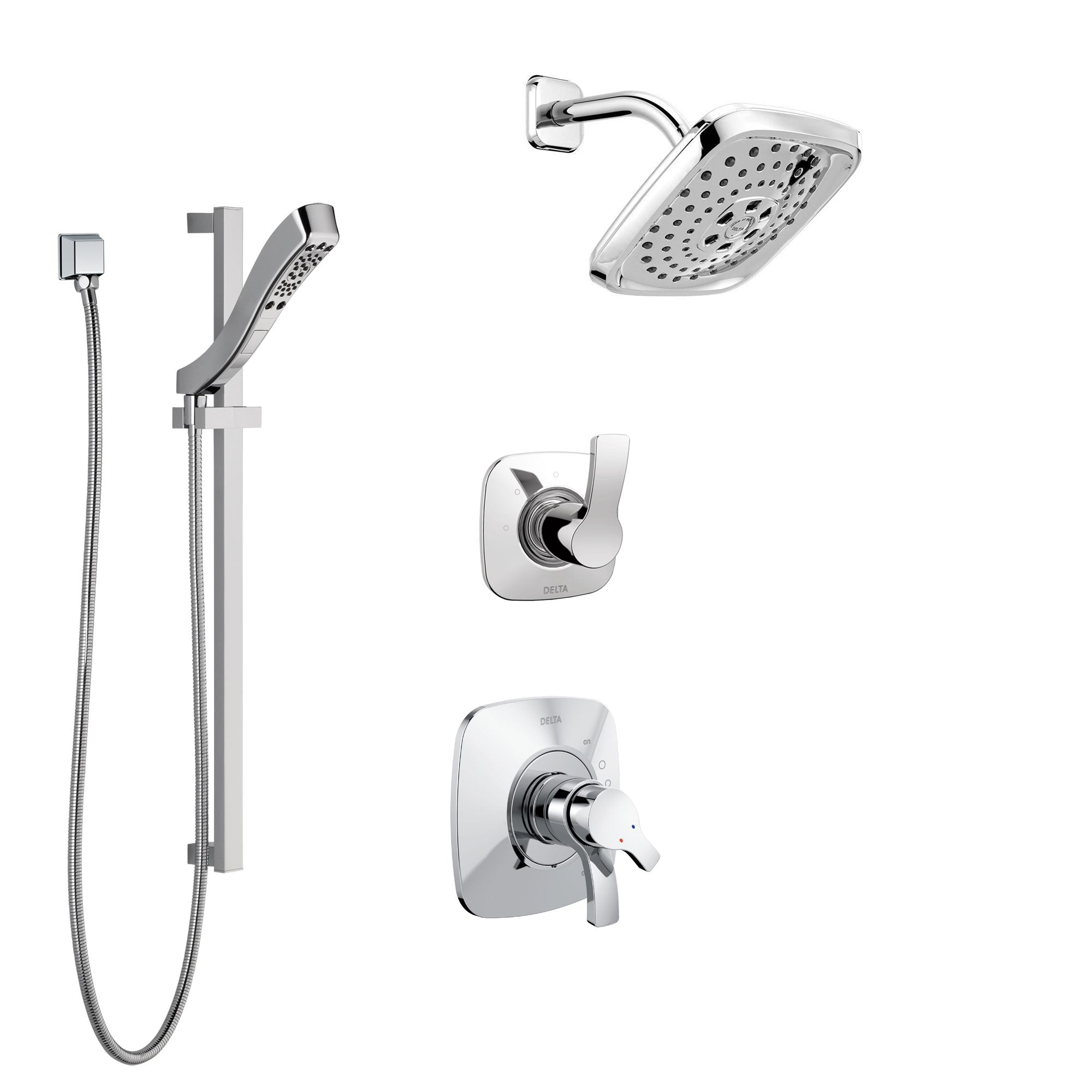 Delta Tesla Chrome Finish Shower System with Dual Control Handle, 3-Setting Diverter, Showerhead, and Hand Shower with Slidebar SS172524