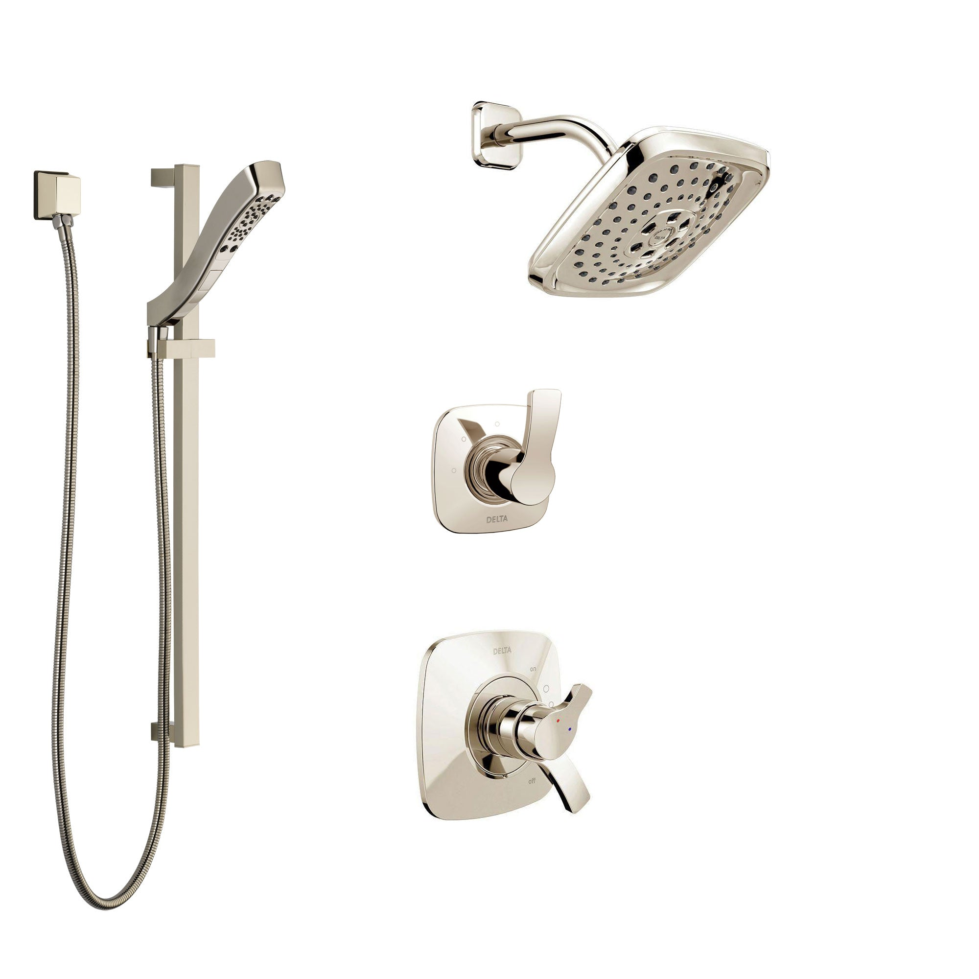 Delta Tesla Polished Nickel Finish Shower System with Dual Control Handle, 3-Setting Diverter, Showerhead, and Hand Shower with Slidebar SS17252PN2