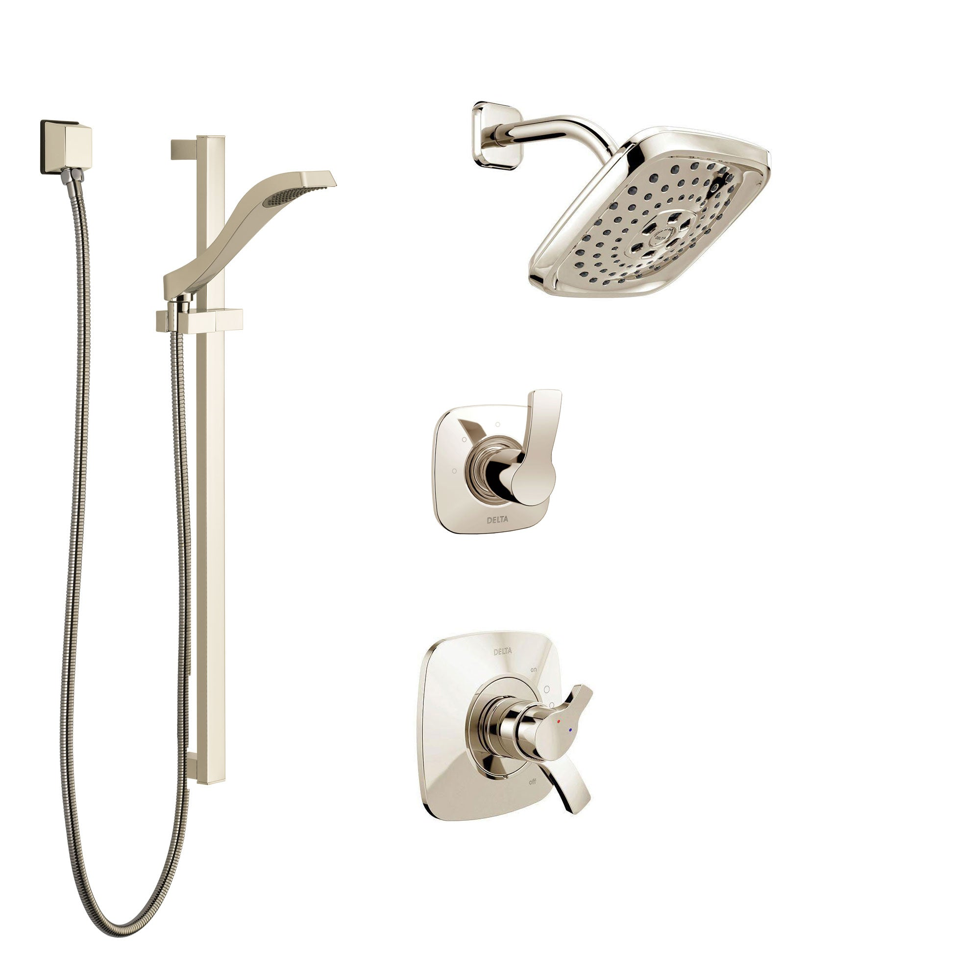 Delta Tesla Polished Nickel Finish Shower System with Dual Control Handle, 3-Setting Diverter, Showerhead, and Hand Shower with Slidebar SS17252PN3
