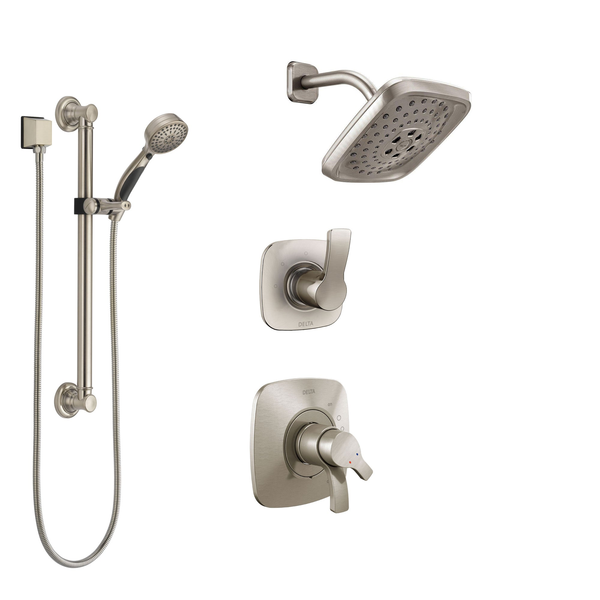 Delta Tesla Stainless Steel Finish Shower System with Dual Control Handle, 3-Setting Diverter, Showerhead, and Hand Shower with Grab Bar SS17252SS3