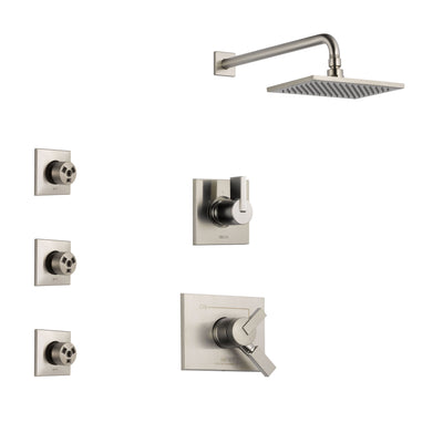 Delta Vero Stainless Steel Finish Shower System with Dual Control Handle, 3-Setting Diverter, Showerhead, and 3 Body Sprays SS172531SS1