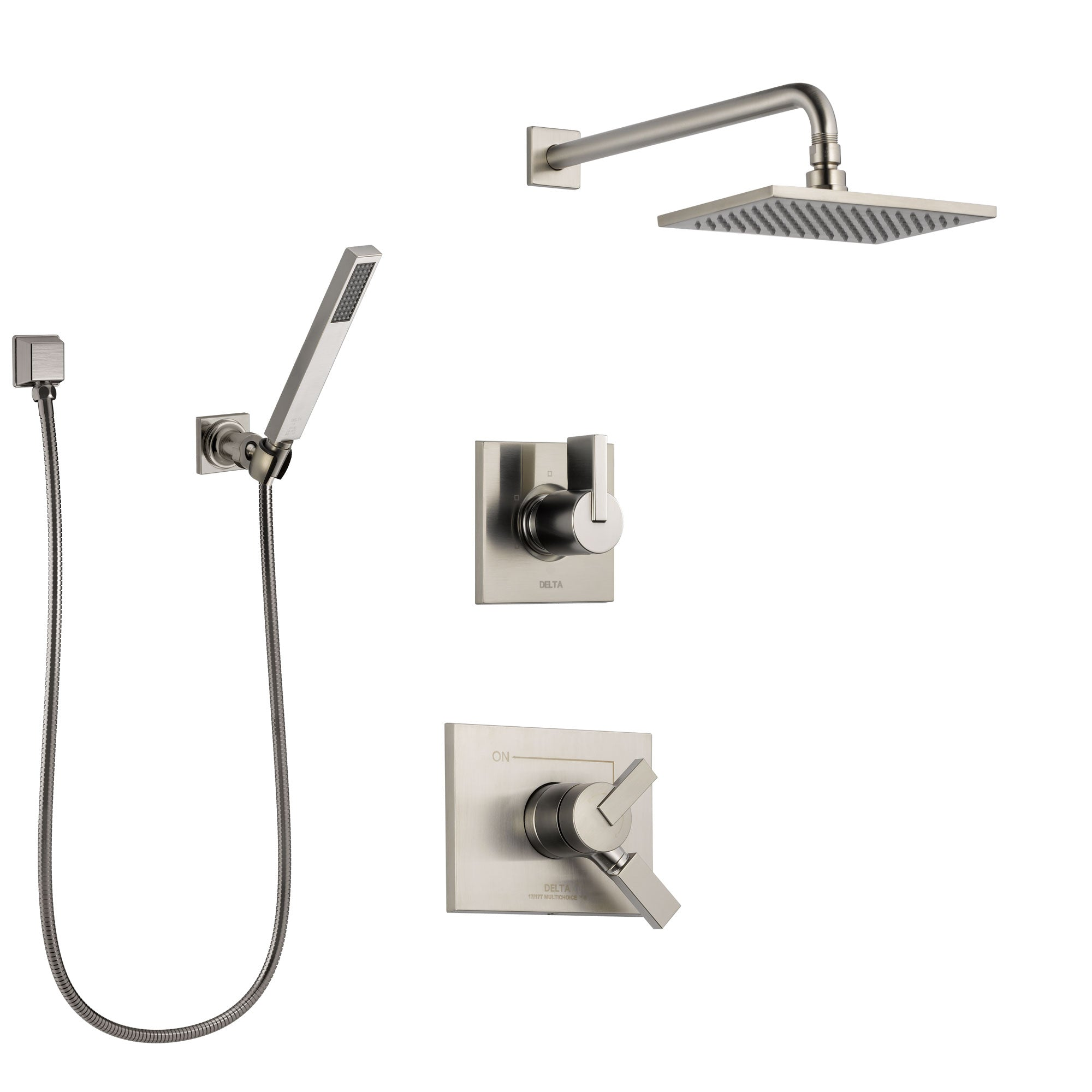 Delta Vero Stainless Steel Finish Shower System with Dual Control Handle, Diverter, Showerhead, and Hand Shower with Wall Bracket SS172531SS4