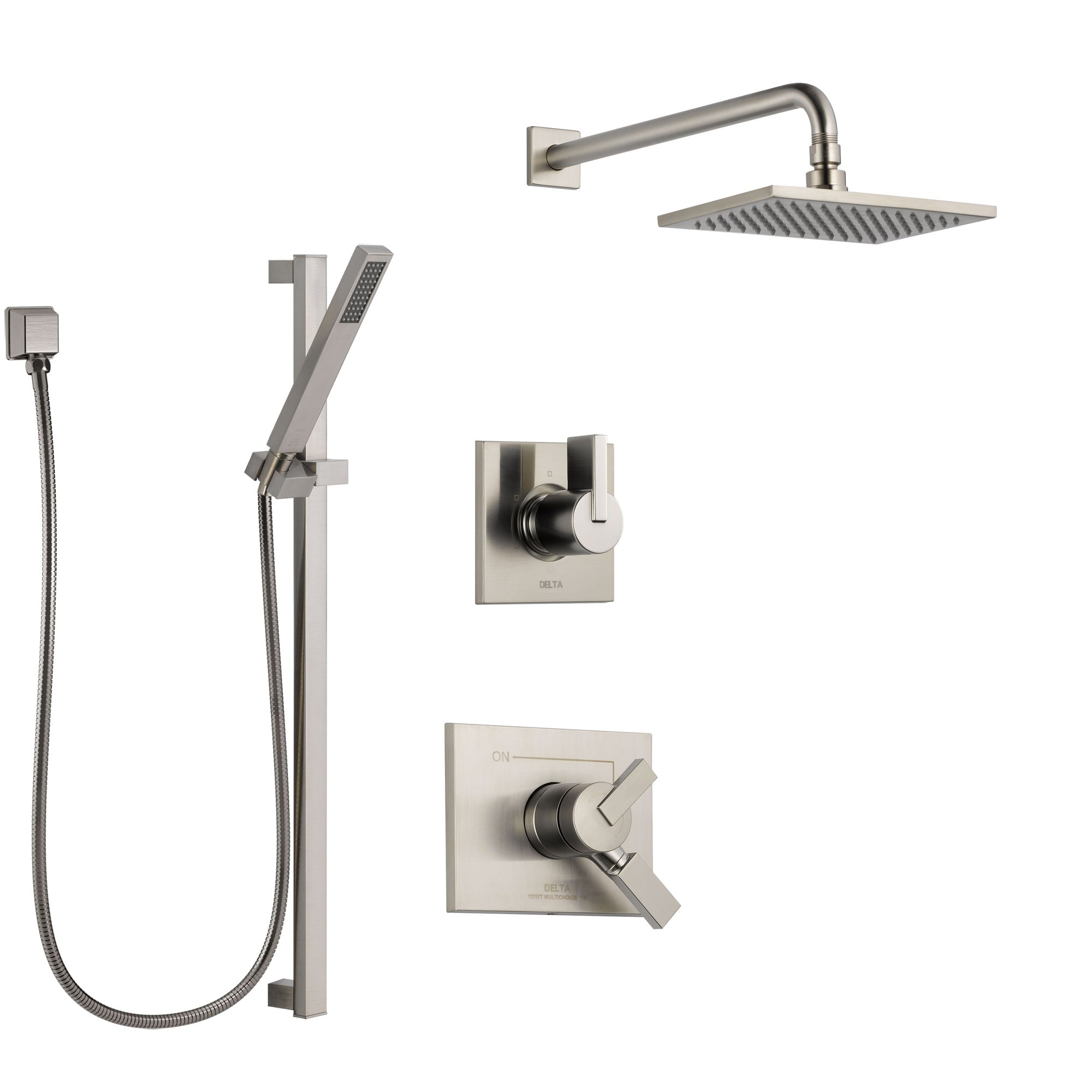 Delta Vero Stainless Steel Finish Shower System with Dual Control Handle, 3-Setting Diverter, Showerhead, and Hand Shower with Slidebar SS172531SS5