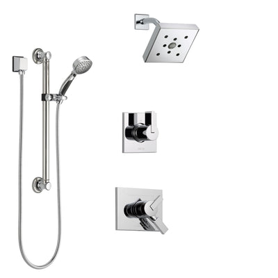 Delta Vero Chrome Finish Shower System with Dual Control Handle, 3-Setting Diverter, Showerhead, and Hand Shower with Grab Bar SS1725323