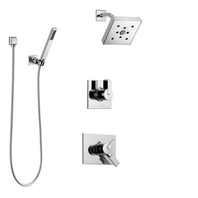 Delta Vero Chrome Finish Shower System with Dual Control Handle, 3-Setting Diverter, Showerhead, and Hand Shower with Wall Bracket SS1725324