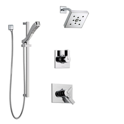 Delta Vero Chrome Finish Shower System with Dual Control Handle, 3-Setting Diverter, Showerhead, and Hand Shower with Slidebar SS1725325