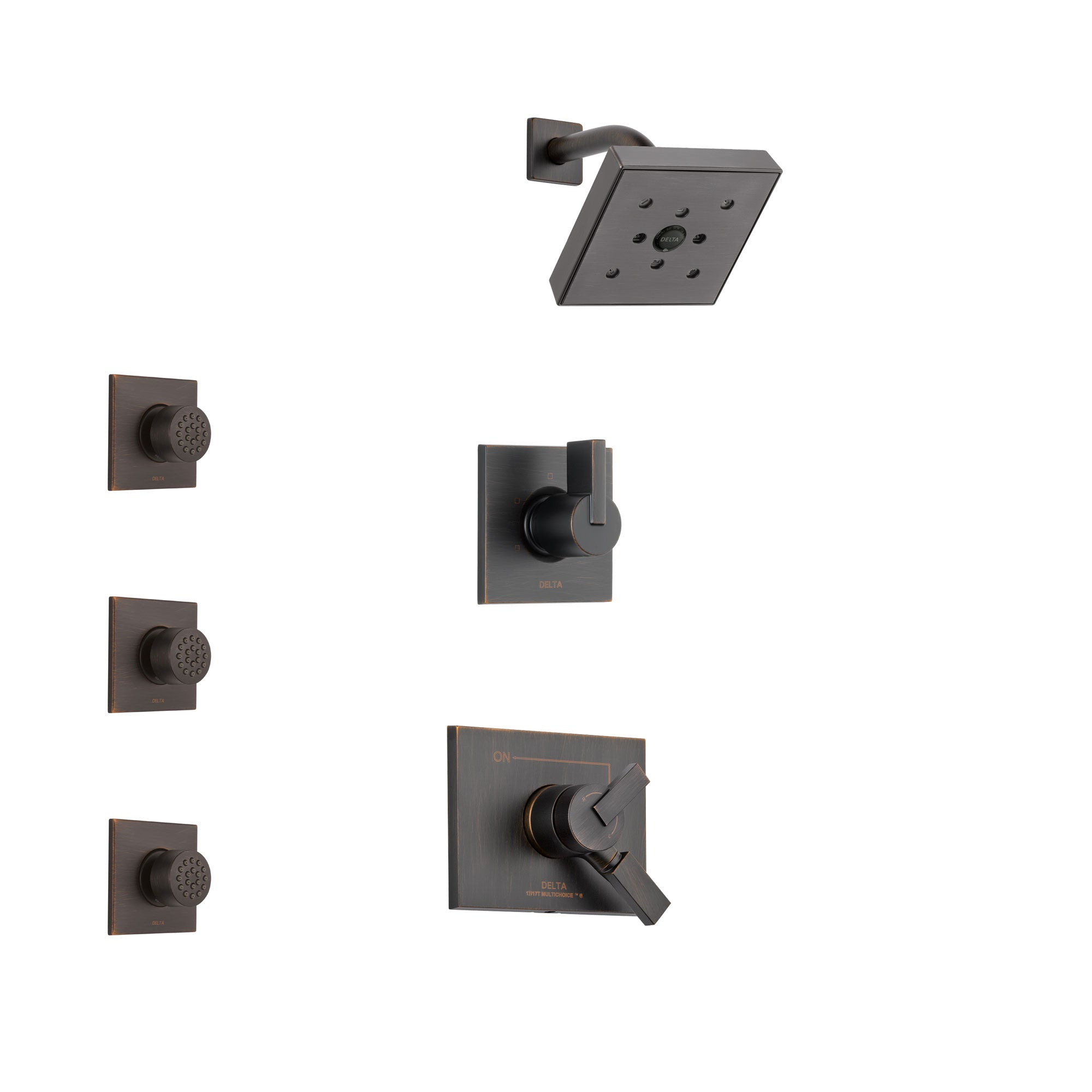 Delta Vero Venetian Bronze Finish Shower System with Dual Control Handle, 3-Setting Diverter, Showerhead, and 3 Body Sprays SS172532RB2