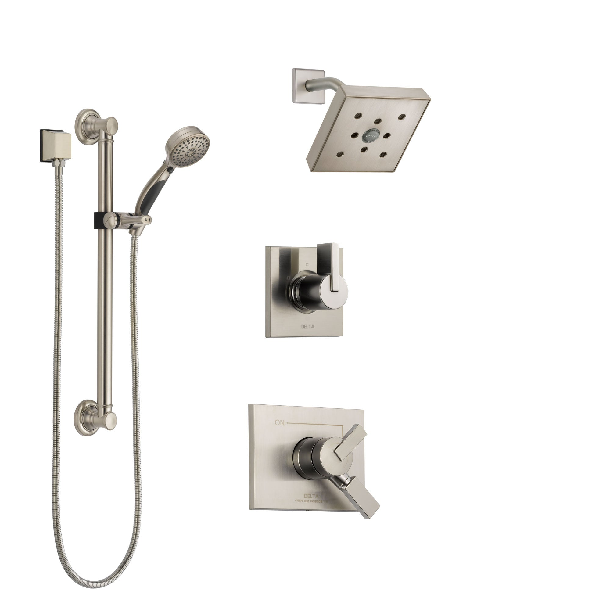 Delta Vero Stainless Steel Finish Shower System with Dual Control Handle, 3-Setting Diverter, Showerhead, and Hand Shower with Grab Bar SS172532SS3