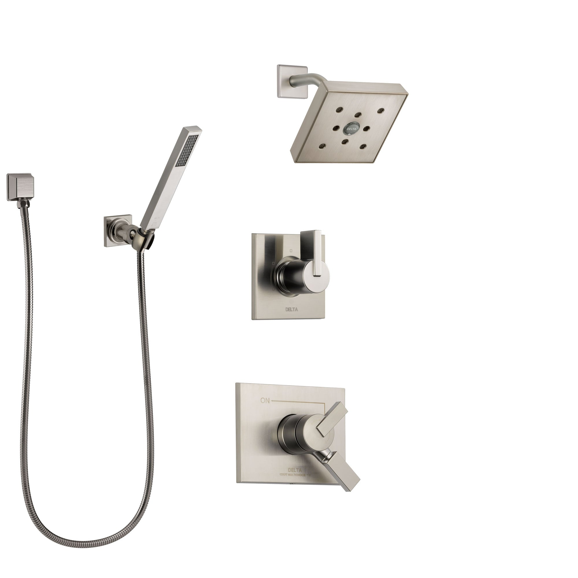 Delta Vero Stainless Steel Finish Shower System with Dual Control Handle, Diverter, Showerhead, and Hand Shower with Wall Bracket SS172532SS4