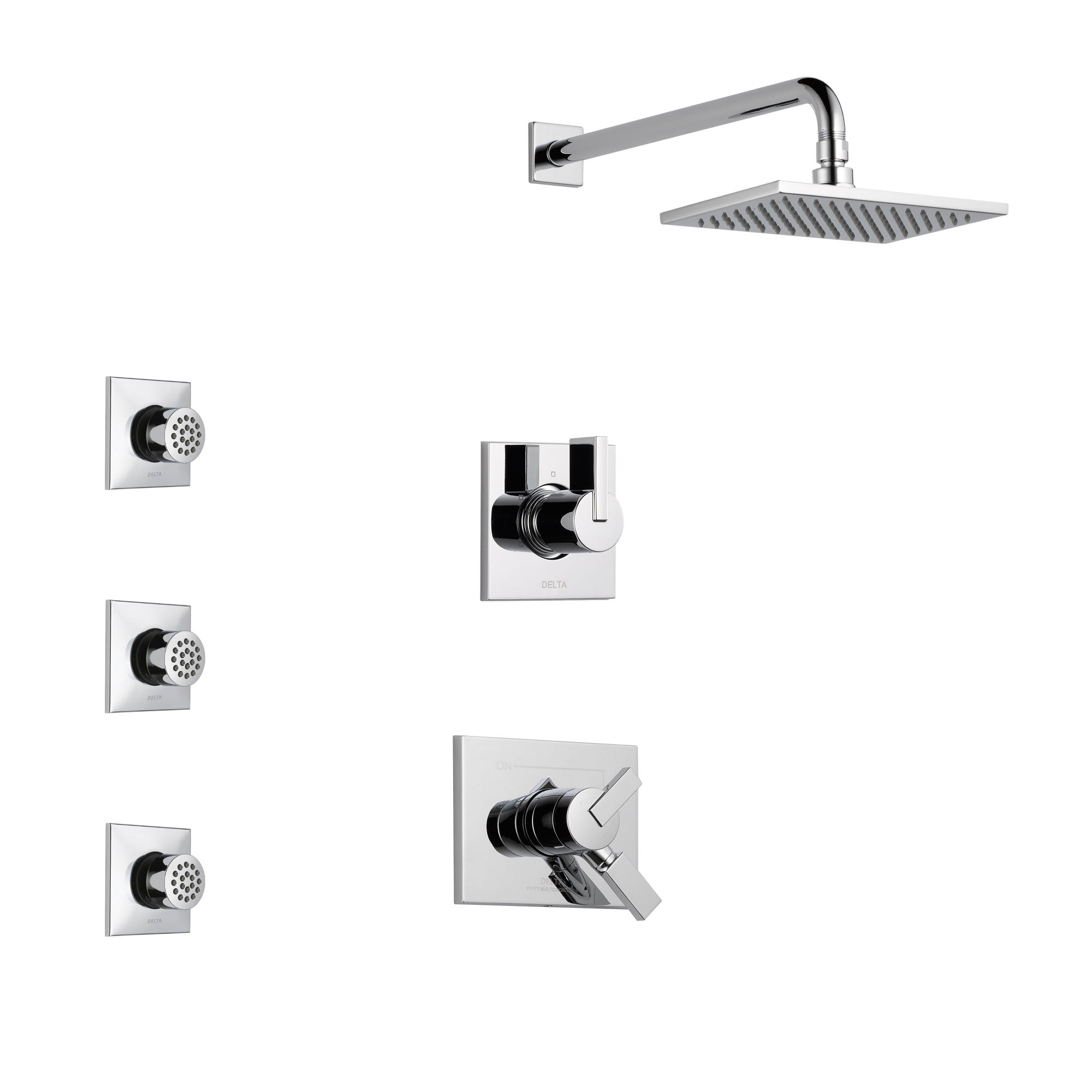 Delta Vero Chrome Finish Shower System with Dual Control Handle, 3-Setting Diverter, Showerhead, and 3 Body Sprays SS1725331