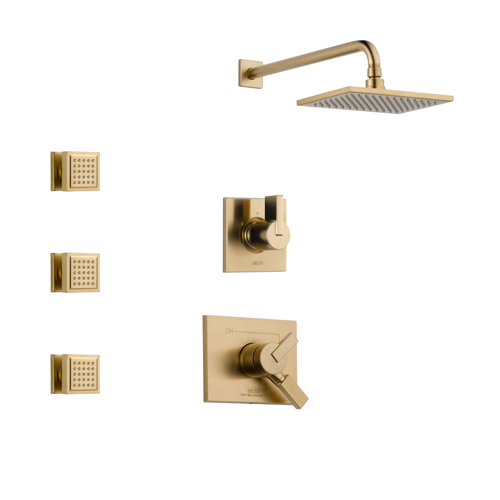 Delta Vero Champagne Bronze Finish Shower System with Dual Control Handle, 3-Setting Diverter, Showerhead, and 3 Body Sprays SS17253CZ1